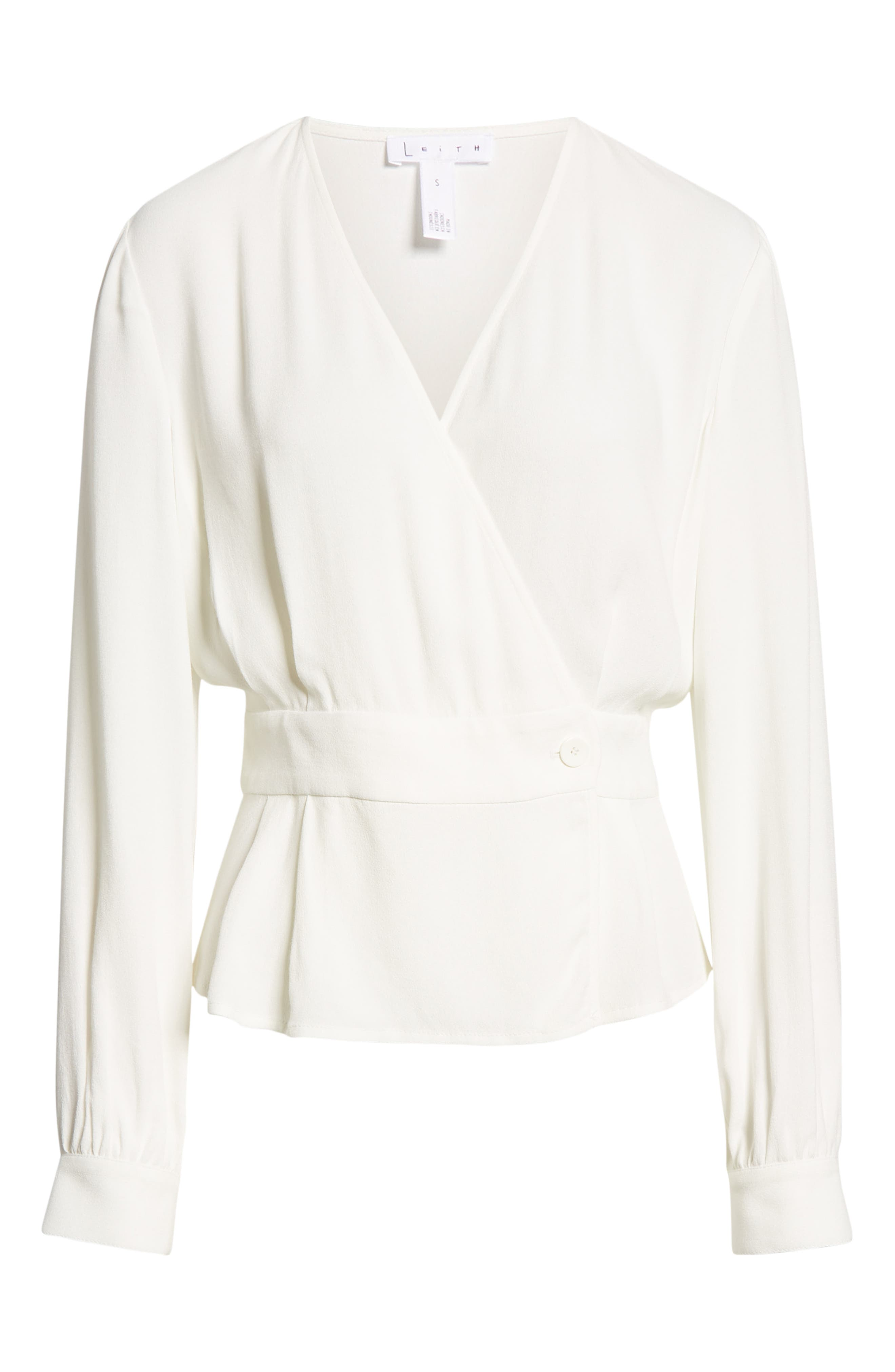LEITH,                             Button Detail Wrap Top,                             Alternate thumbnail 6, color,                             IVORY