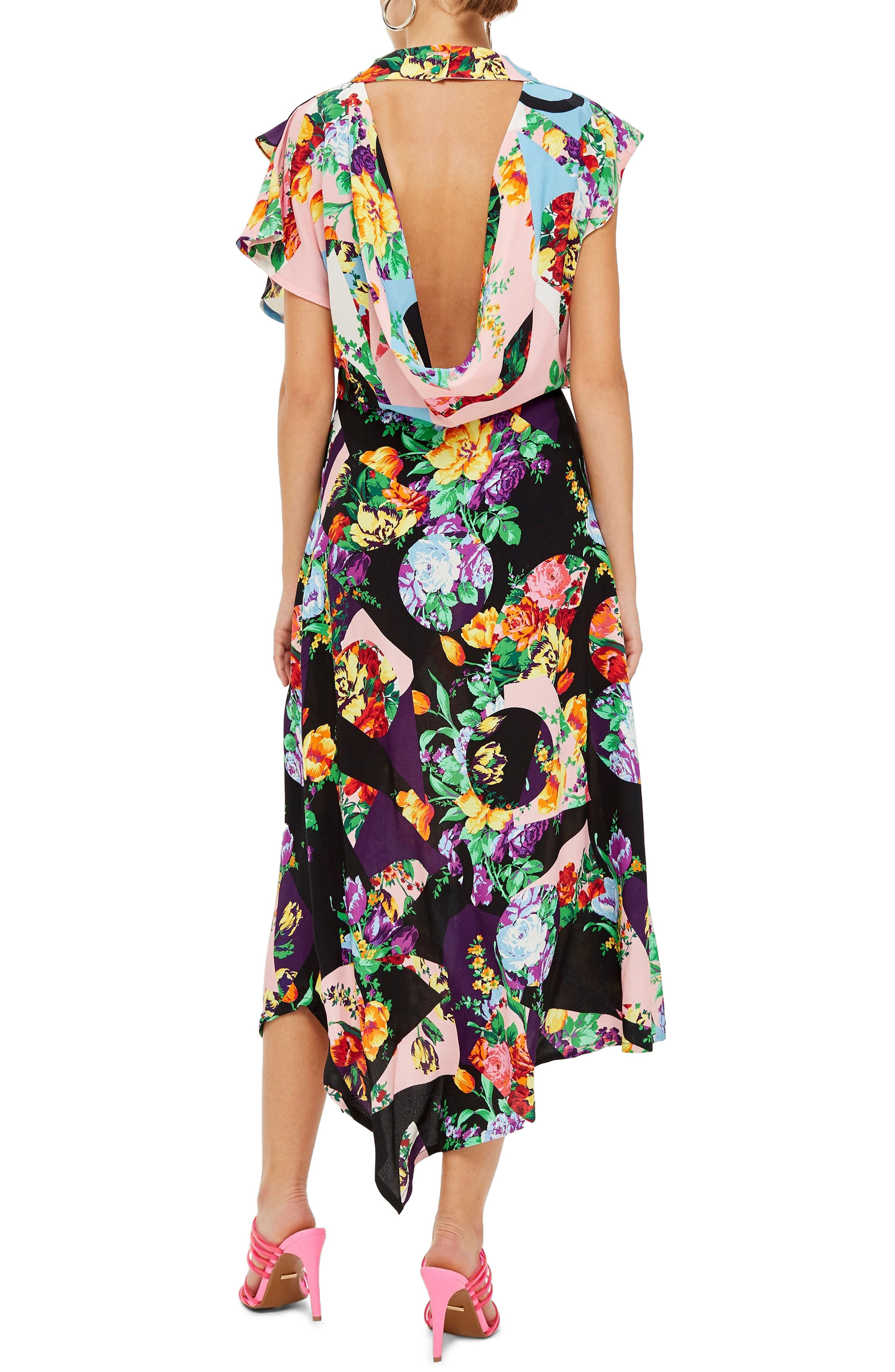 Cowl Back Midi Dress,                             Alternate thumbnail 2, color,                             PINK MULTI