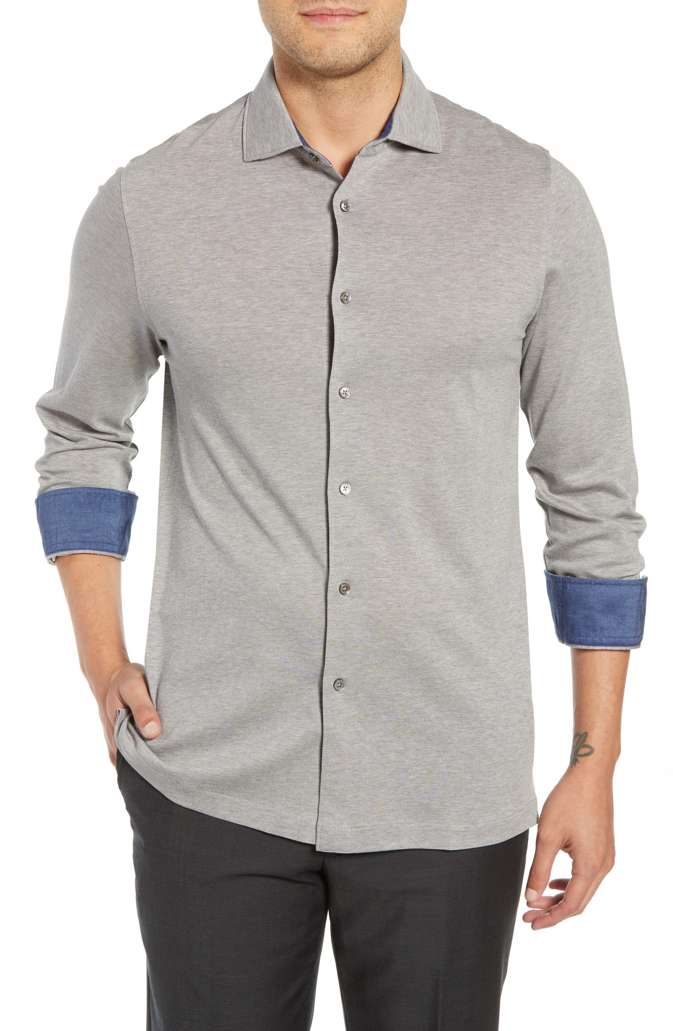 Shaped Fit Contrast Cuff Sport Shirt,                         Main,                         color, GRAPHITE