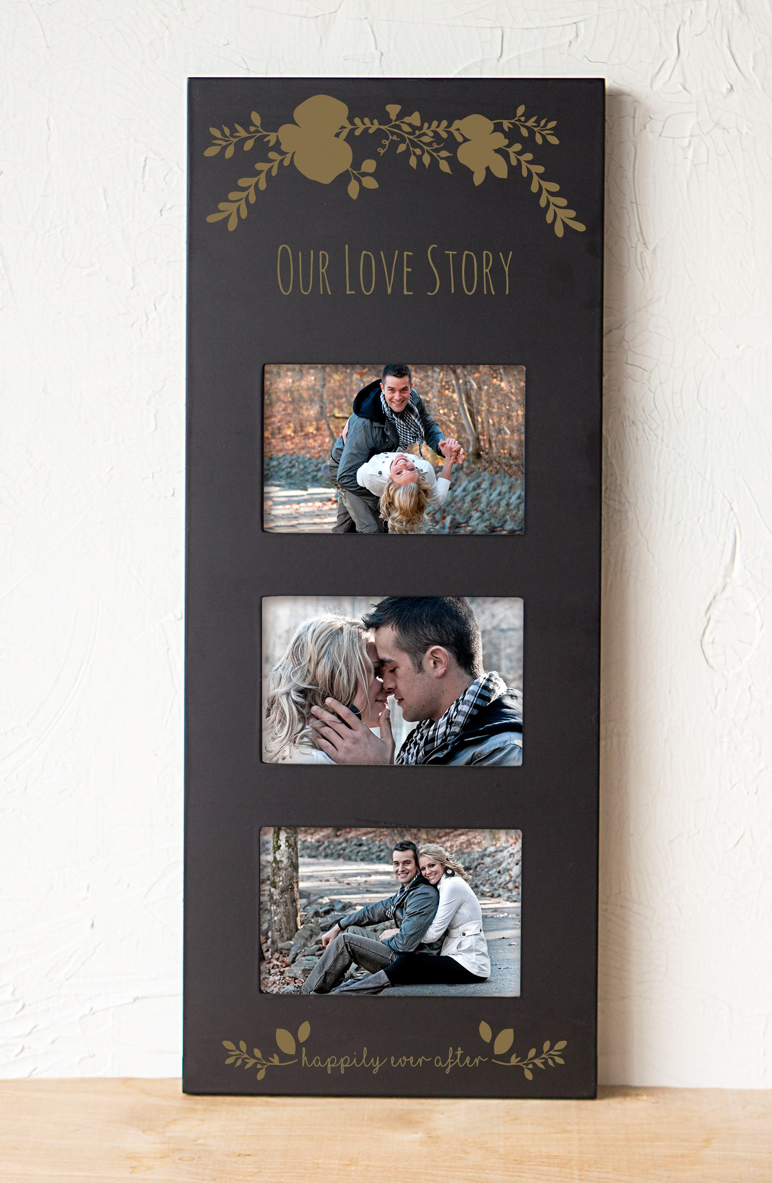Gold Love Story 3-Window Picture Frame,                             Alternate thumbnail 6, color,                             001
