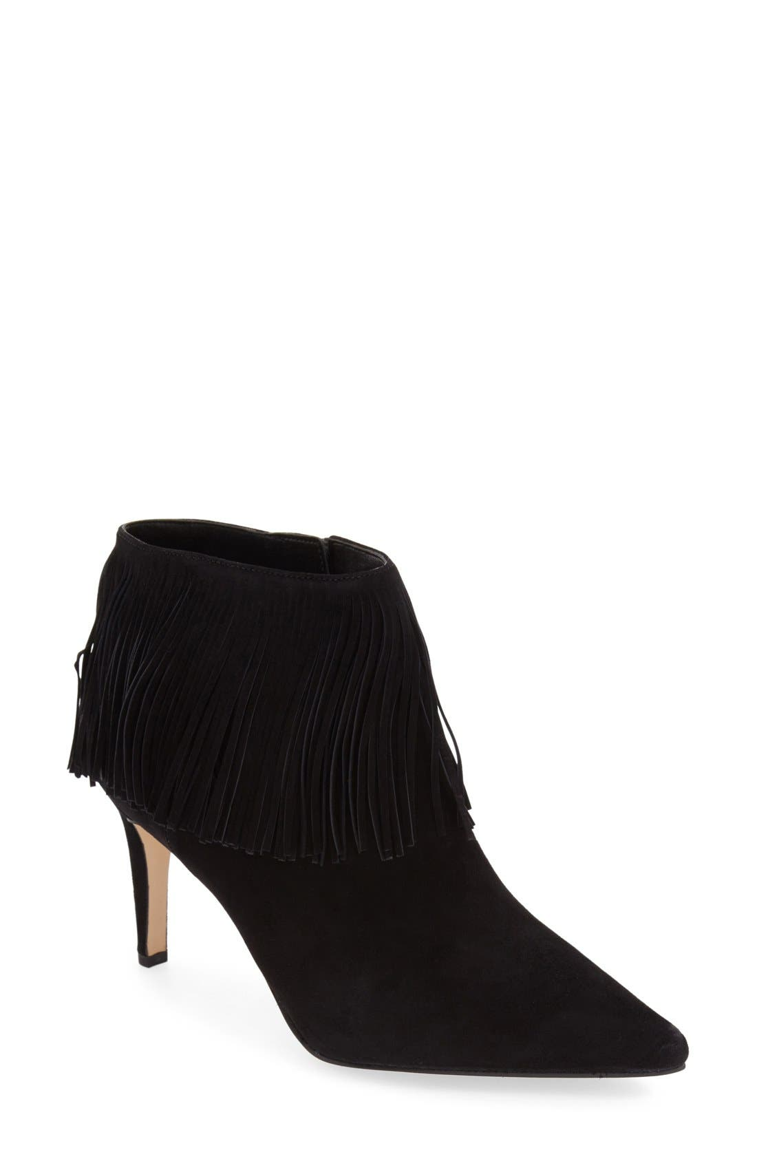 SAM EDELMAN,                             'Kandice' Fringed Suede Pointy Toe Bootie,                             Main thumbnail 1, color,                             002