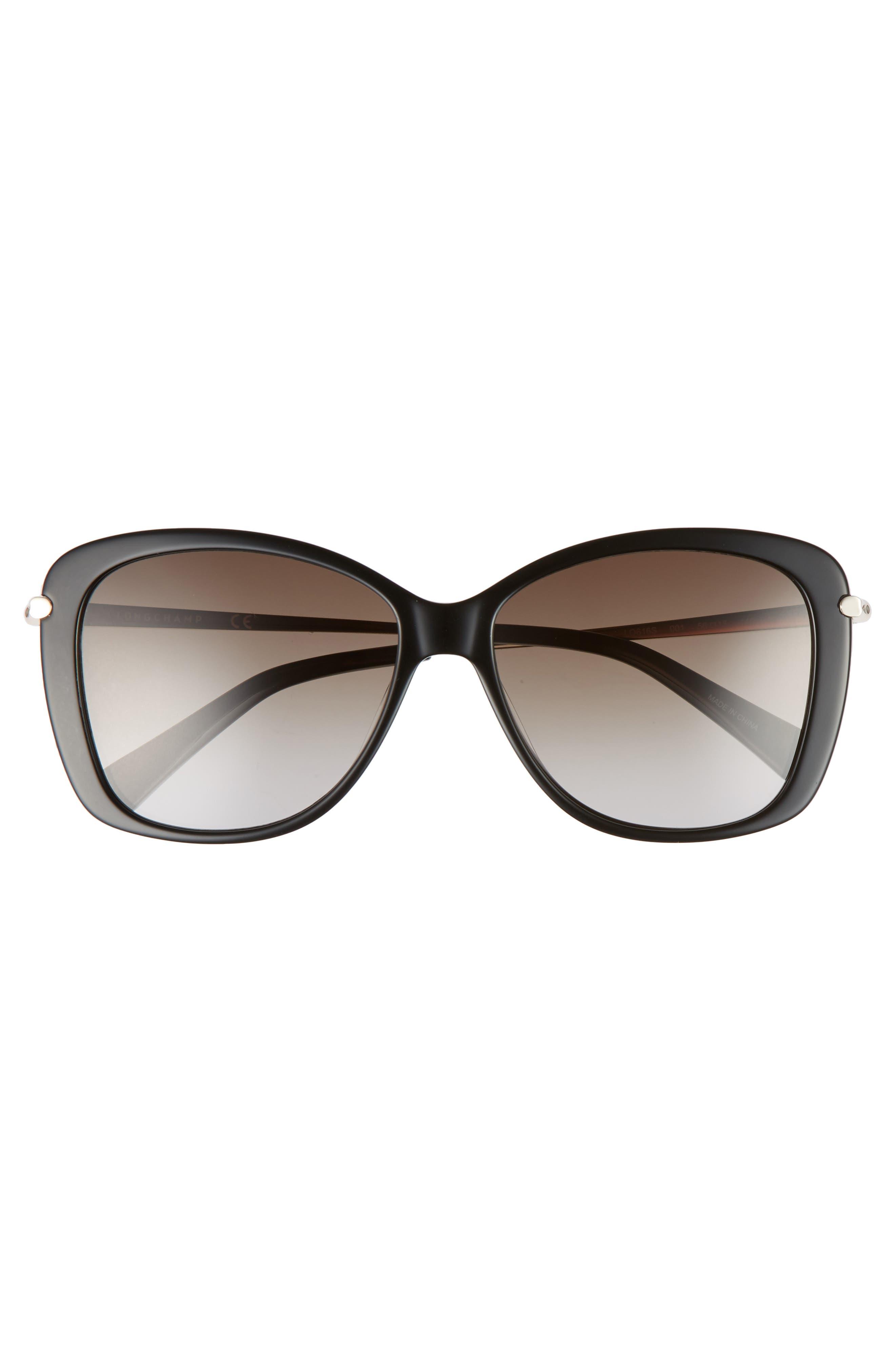 56mm Gradient Lens Butterfly Sunglasses,                             Alternate thumbnail 3, color,                             BLACK