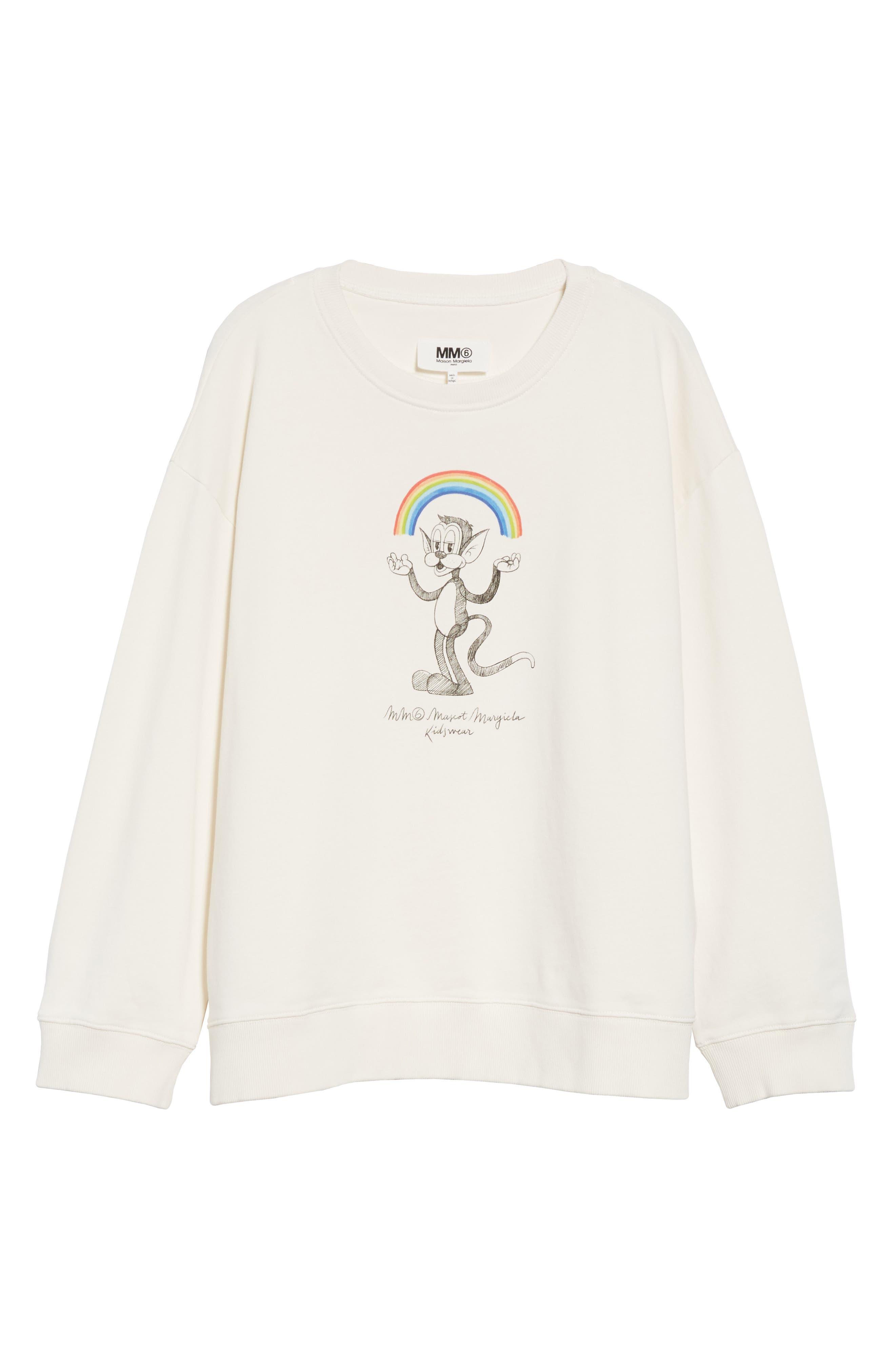 MM6 MAISON MARGIELA,                             Kidswear Mascot Graphic Sweatshirt,                             Alternate thumbnail 6, color,                             OFF WHITE