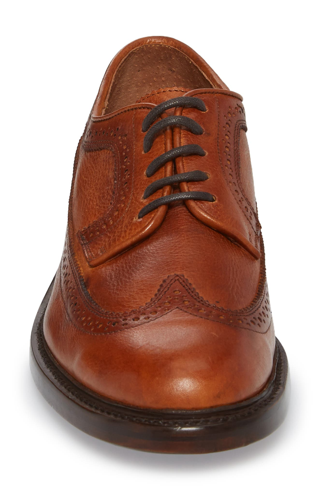 Jones Wingtip Derby,                             Alternate thumbnail 4, color,                             CARAMEL LEATHER