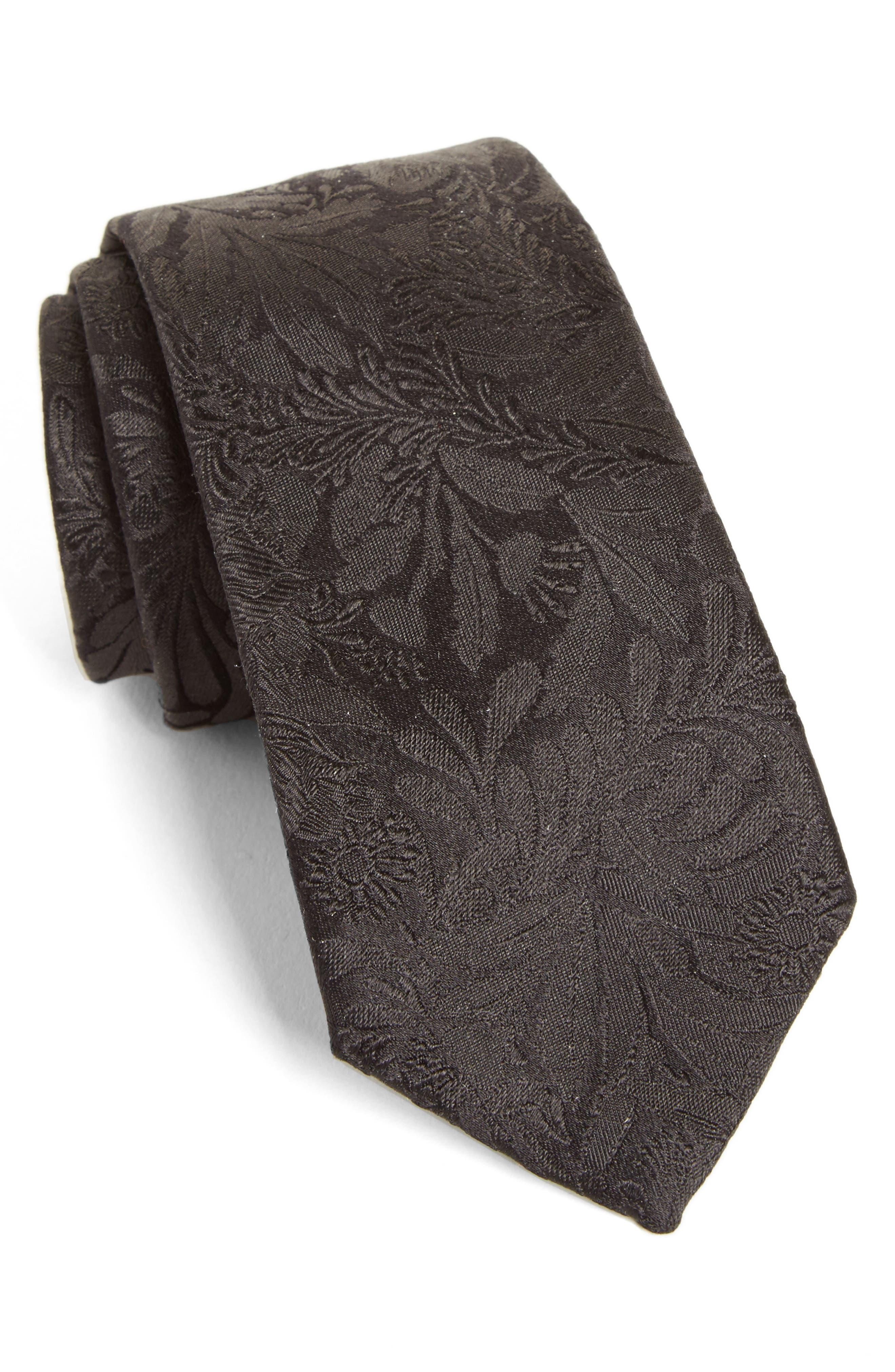 Tonal Floral Silk Tie,                             Main thumbnail 1, color,                             001