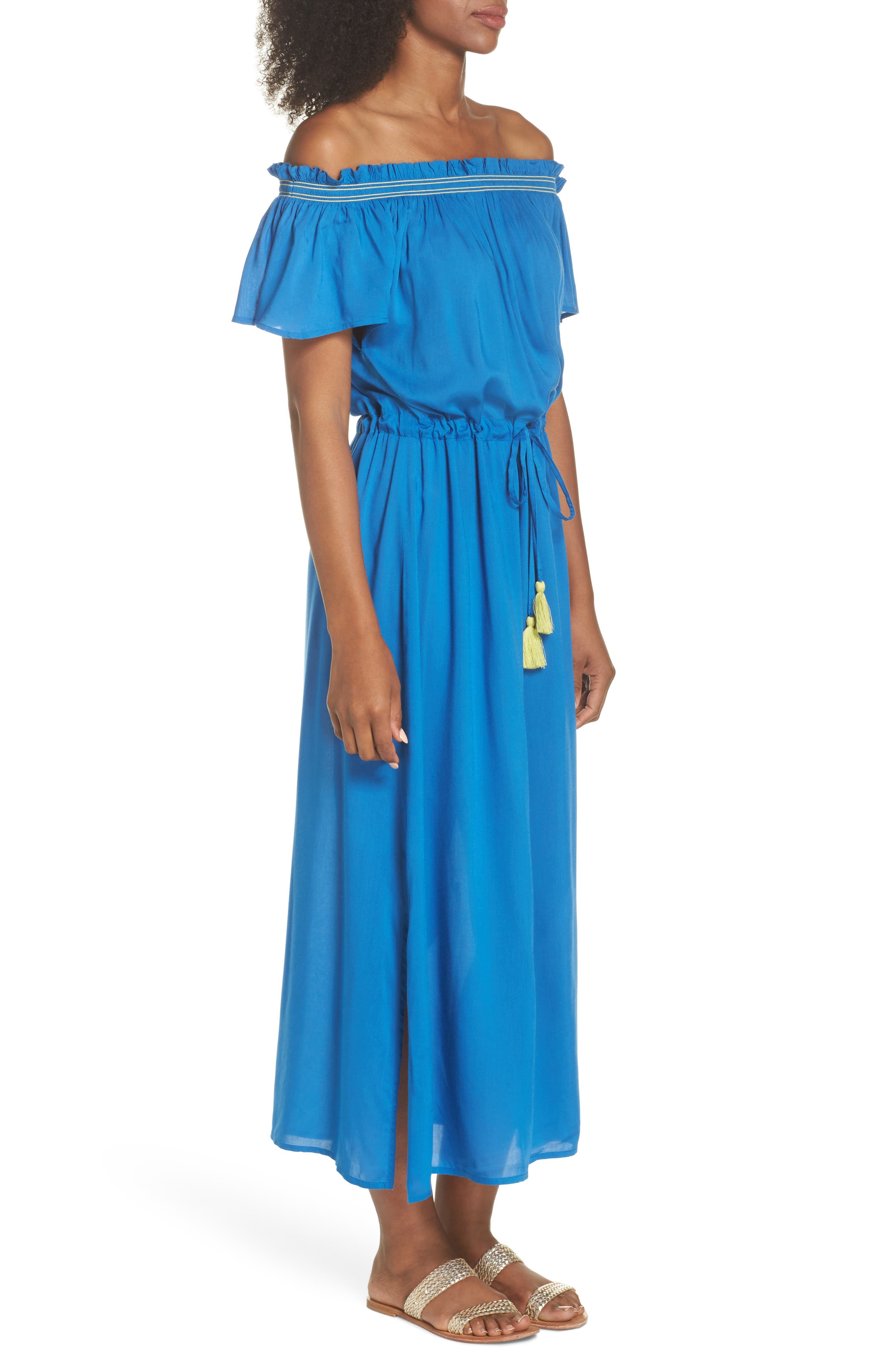 Off the Shoulder Cover-Up Dress,                             Alternate thumbnail 6, color,