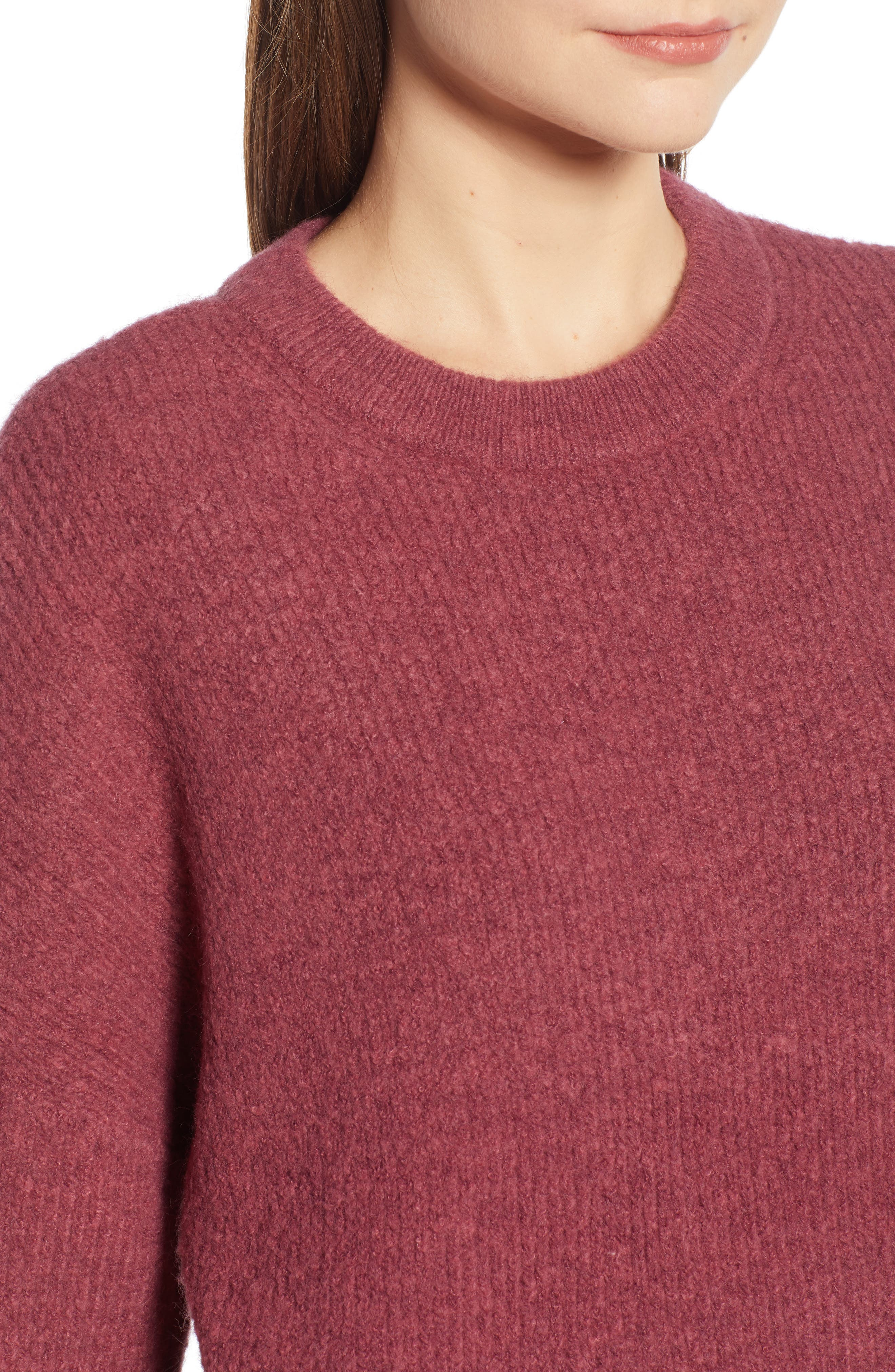 Fuzzy Oversize Sweater,                             Alternate thumbnail 4, color,                             BURGUNDY THORN