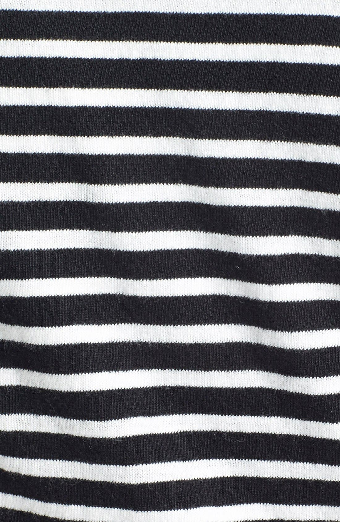 CASLON<SUP>®</SUP>,                             Knit One-Button Blazer,                             Alternate thumbnail 7, color,                             BLACK- IVORY STRIPE