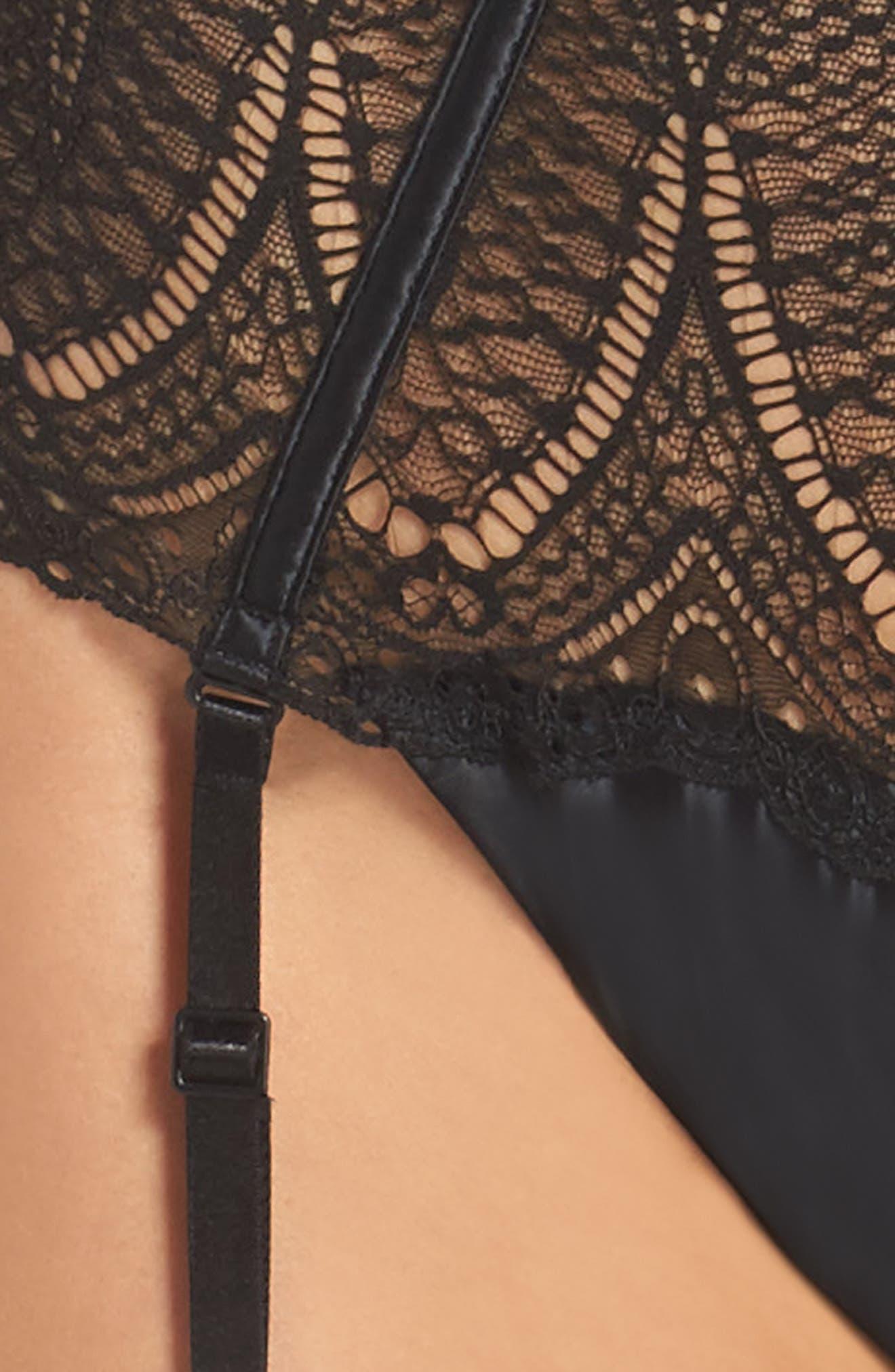 Black Audacious High Waist Lace Thong,                             Alternate thumbnail 5, color,