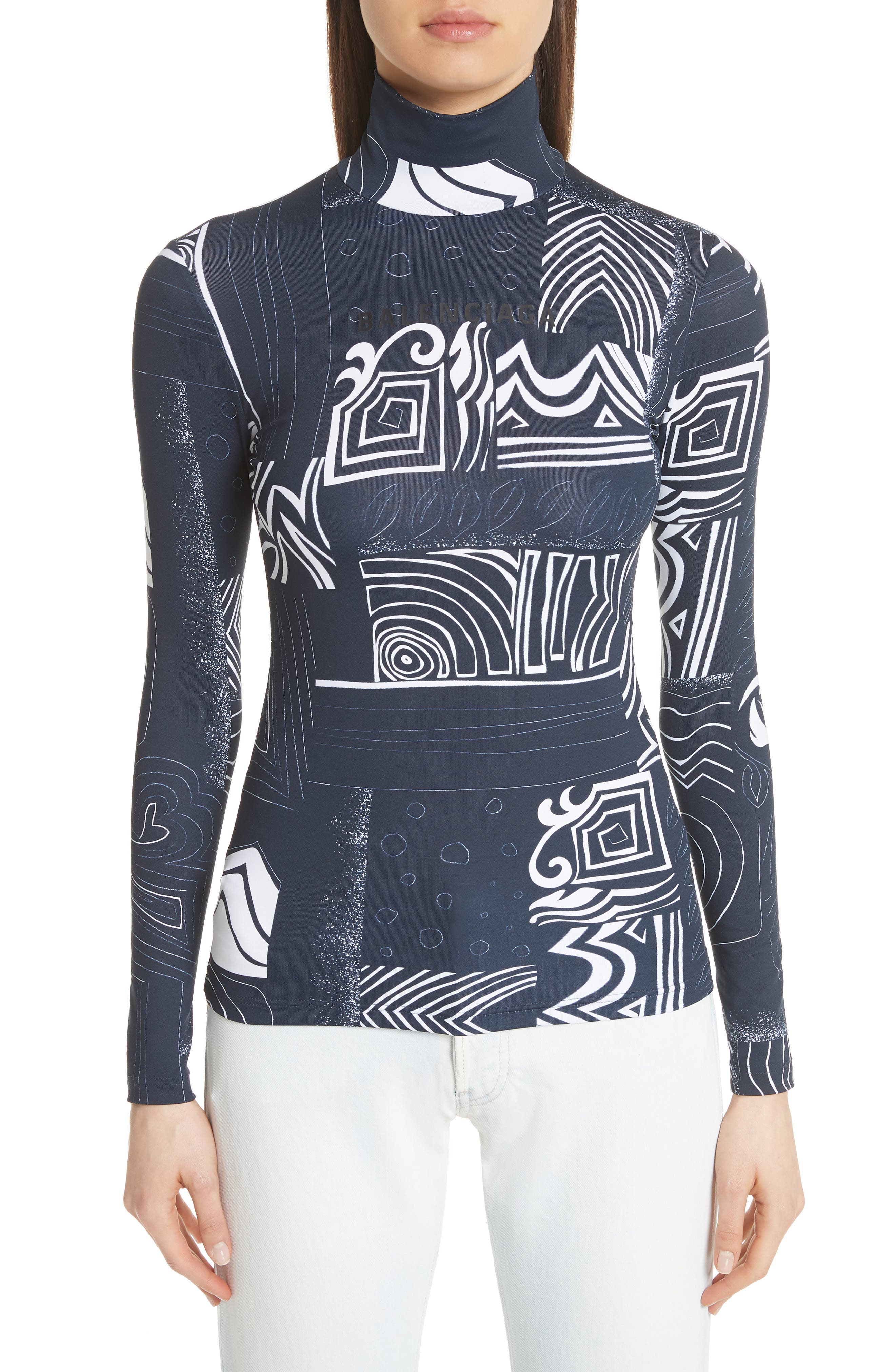 Graphic Print Jersey Top by Balenciaga