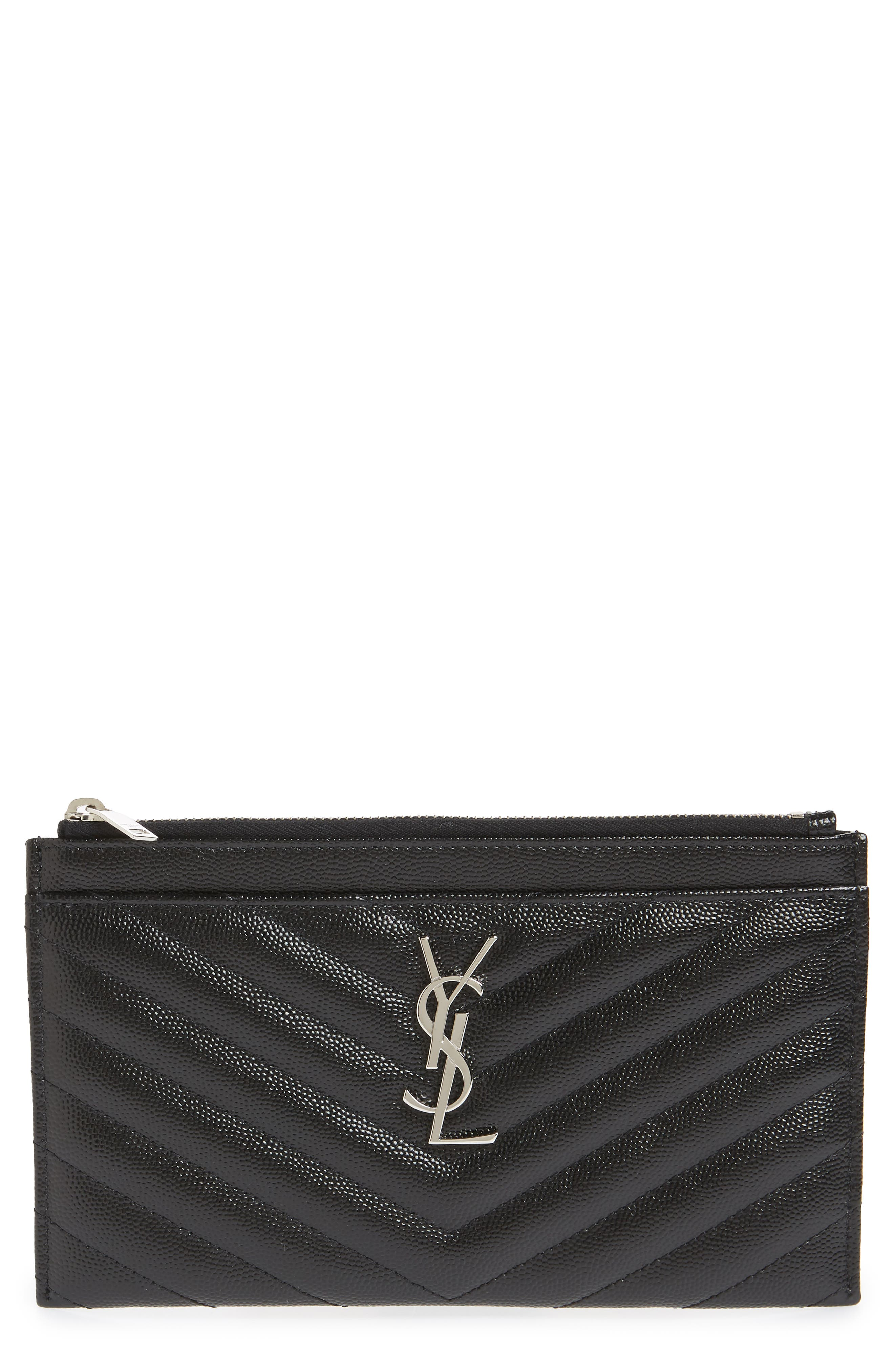 Monogram Leather Bill Pouch,                         Main,                         color, 001