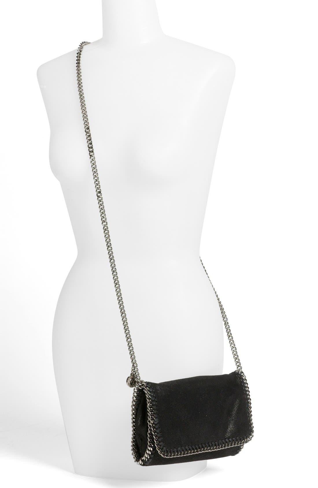 'Falabella - Shaggy Deer' Faux Leather Crossbody Bag,                             Alternate thumbnail 7, color,                             BLACK SLVR HRDWR