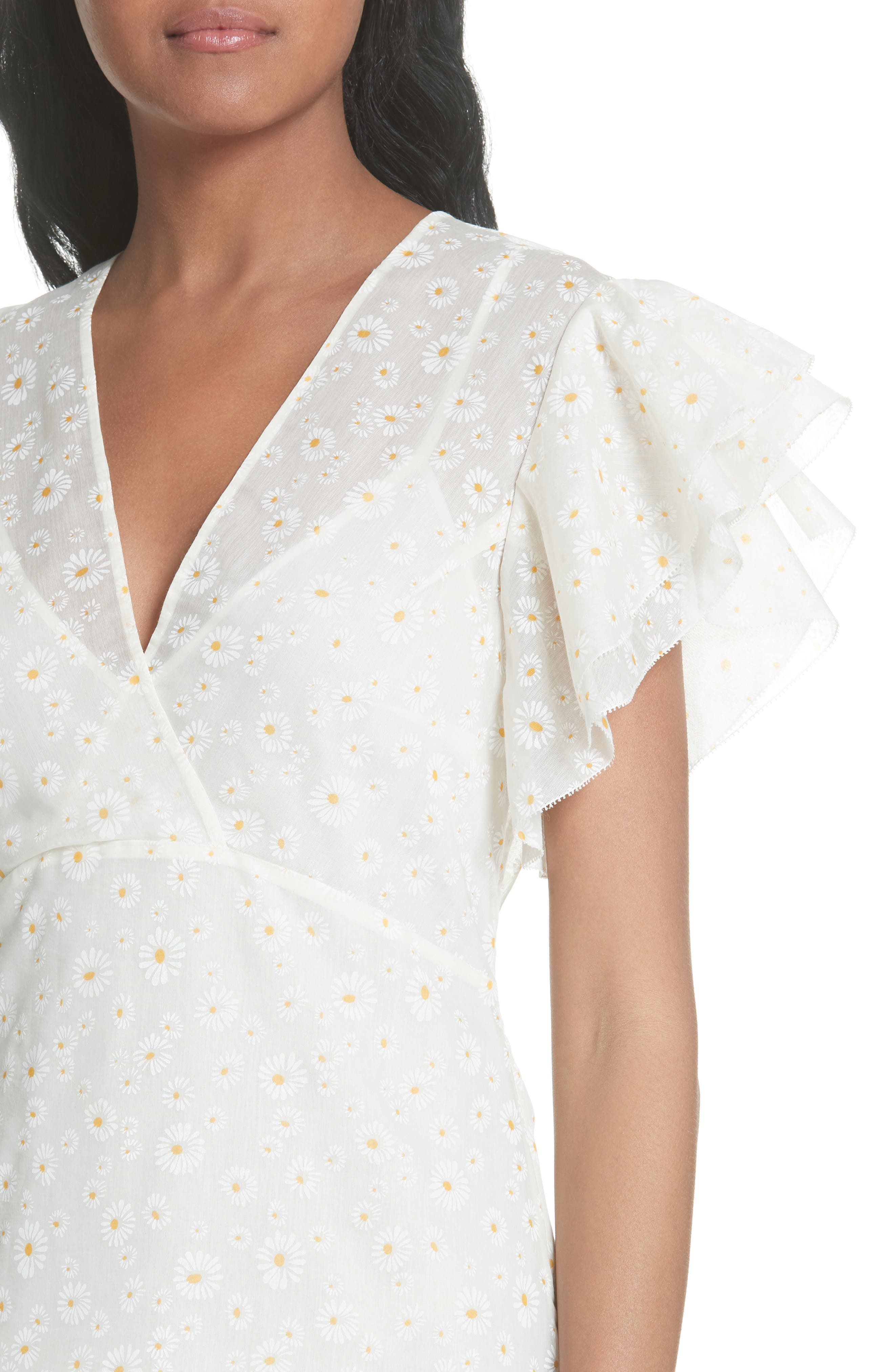 Susanna Flutter Sleeve Midi Dress,                             Alternate thumbnail 4, color,                             160