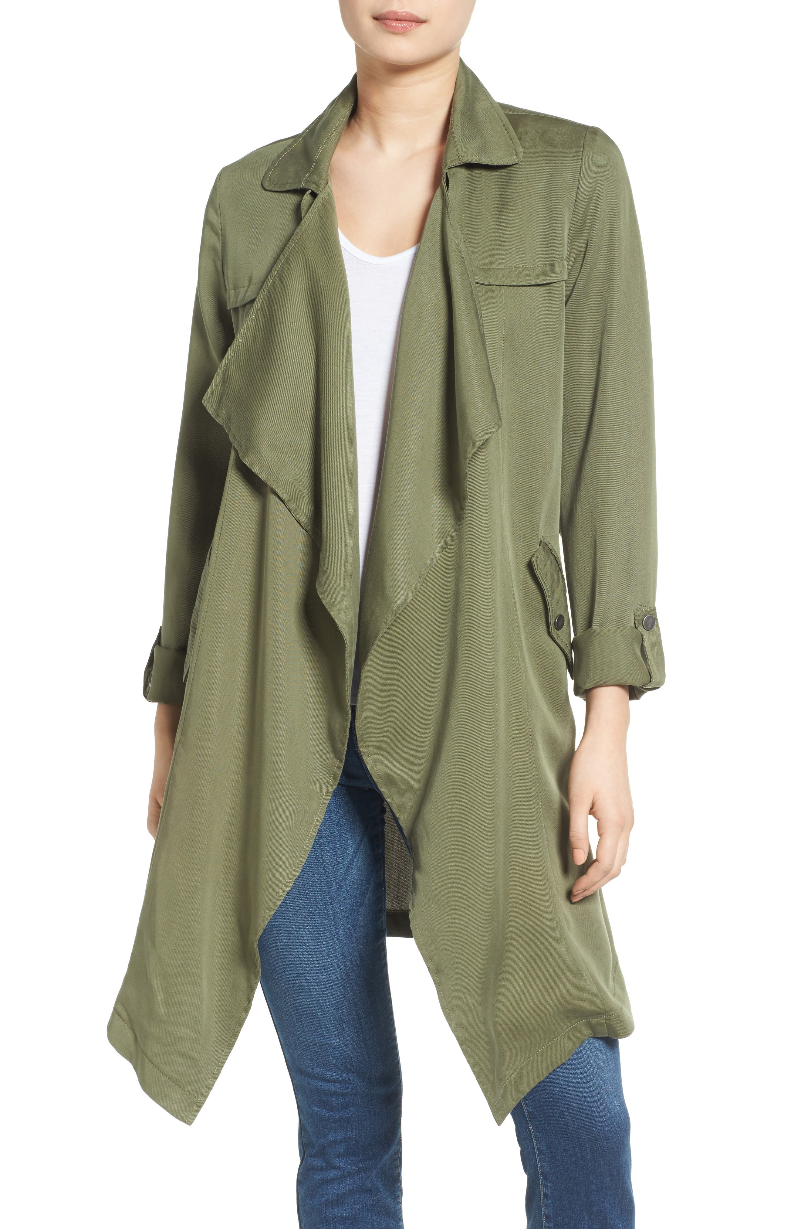 Drape Front Trench Coat,                         Main,                         color, 300