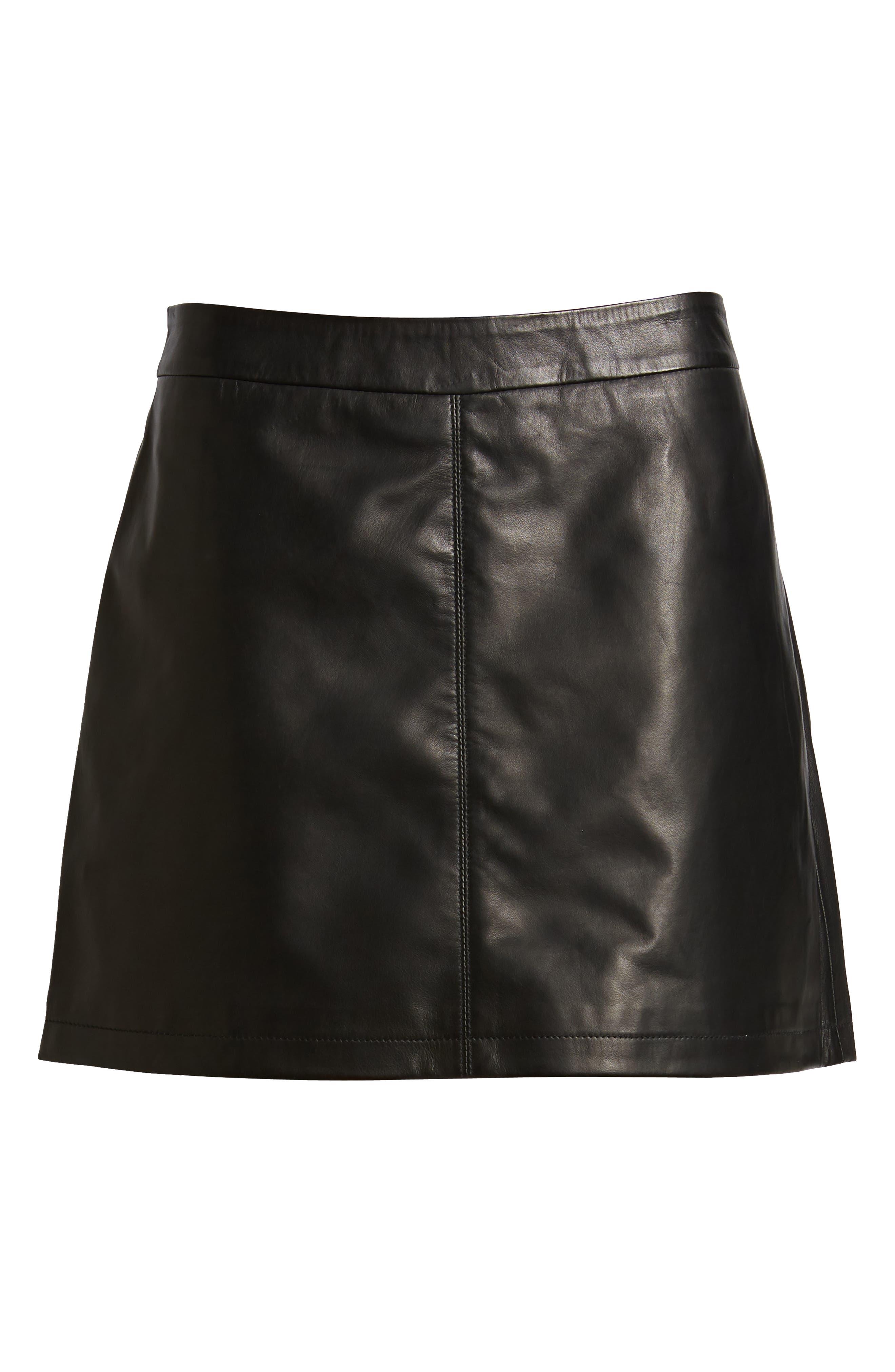 Marrie Leather Miniskirt,                             Alternate thumbnail 6, color,                             BLACK