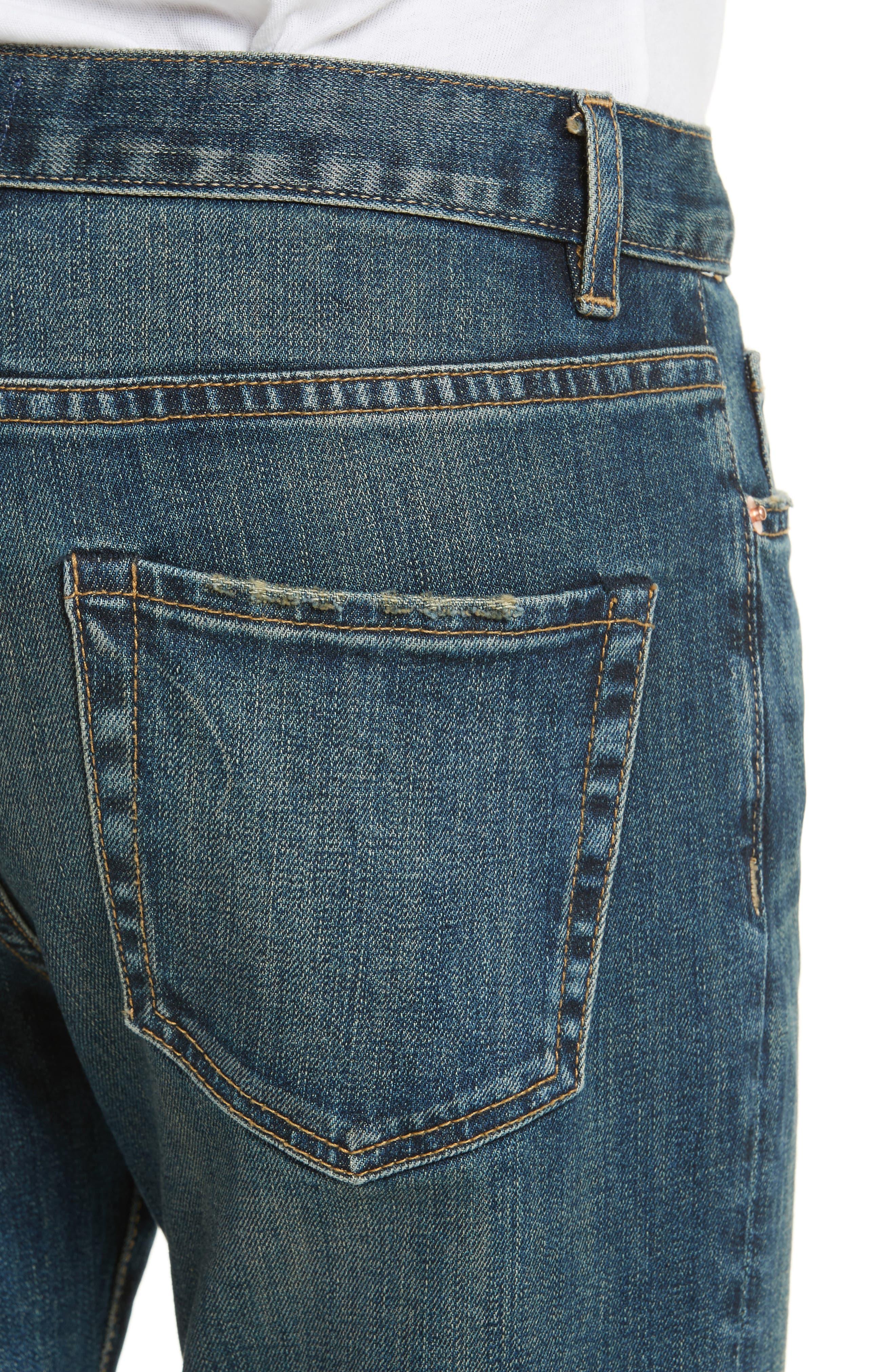 Raw Edge Crop Boyfriend Jeans,                             Alternate thumbnail 4, color,                             403