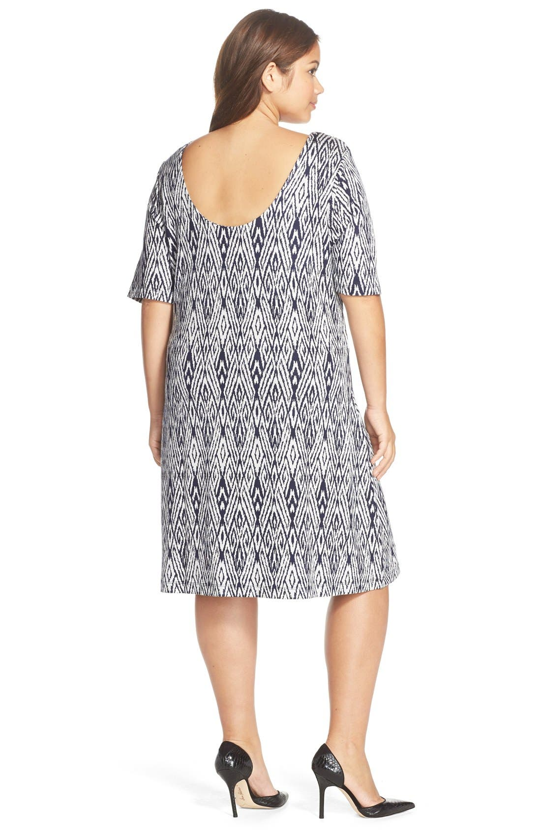 'Falcon' Print French Terry Scoop Back Dress,                             Alternate thumbnail 3, color,
