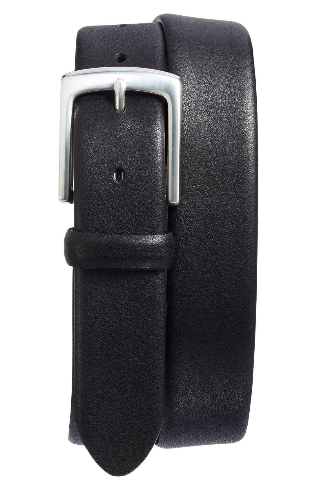 Tubular Leather Belt,                             Main thumbnail 1, color,