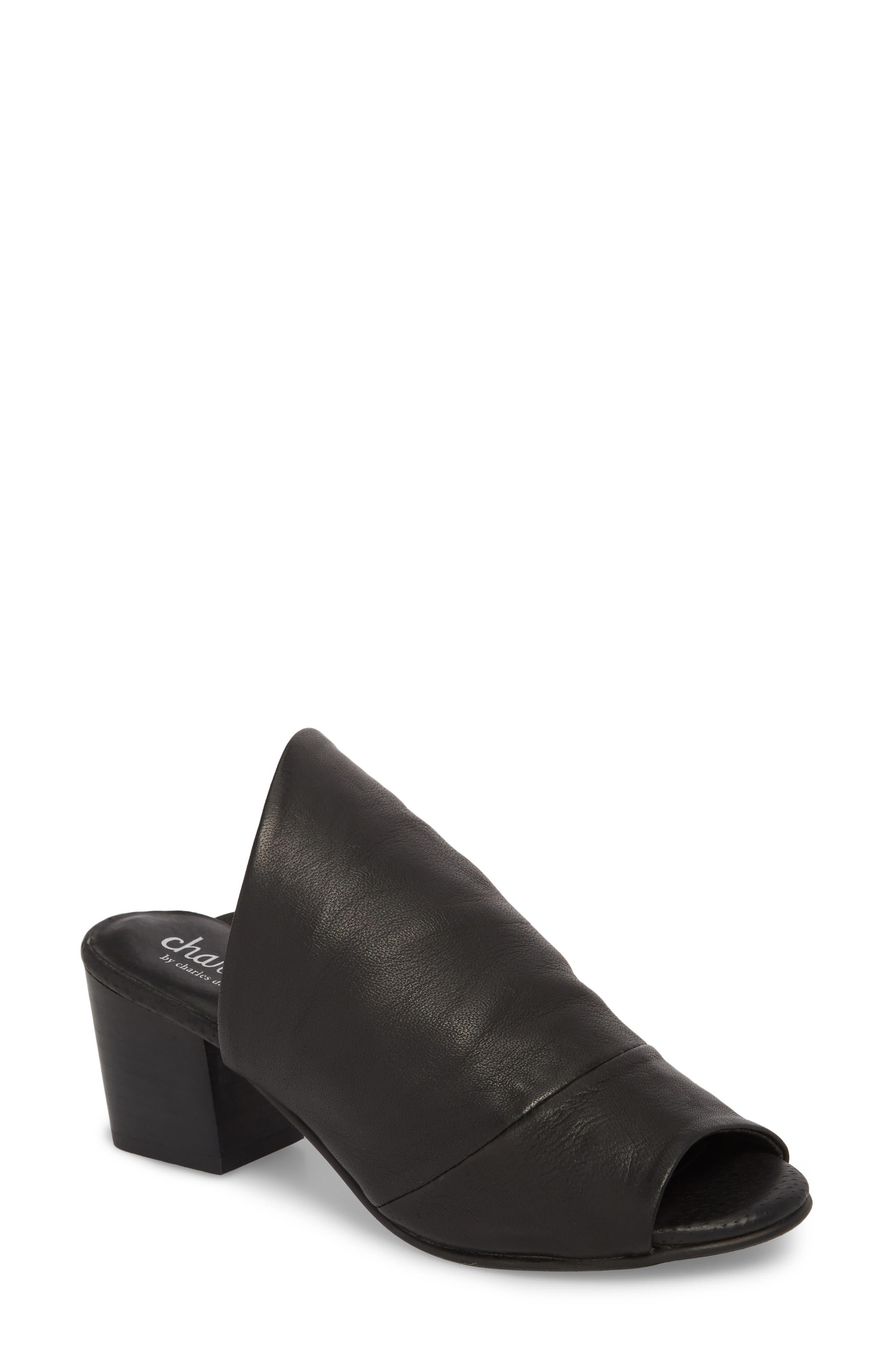 Yanna Block Heel Slide Sandal,                             Main thumbnail 1, color,                             BLACK LEATHER