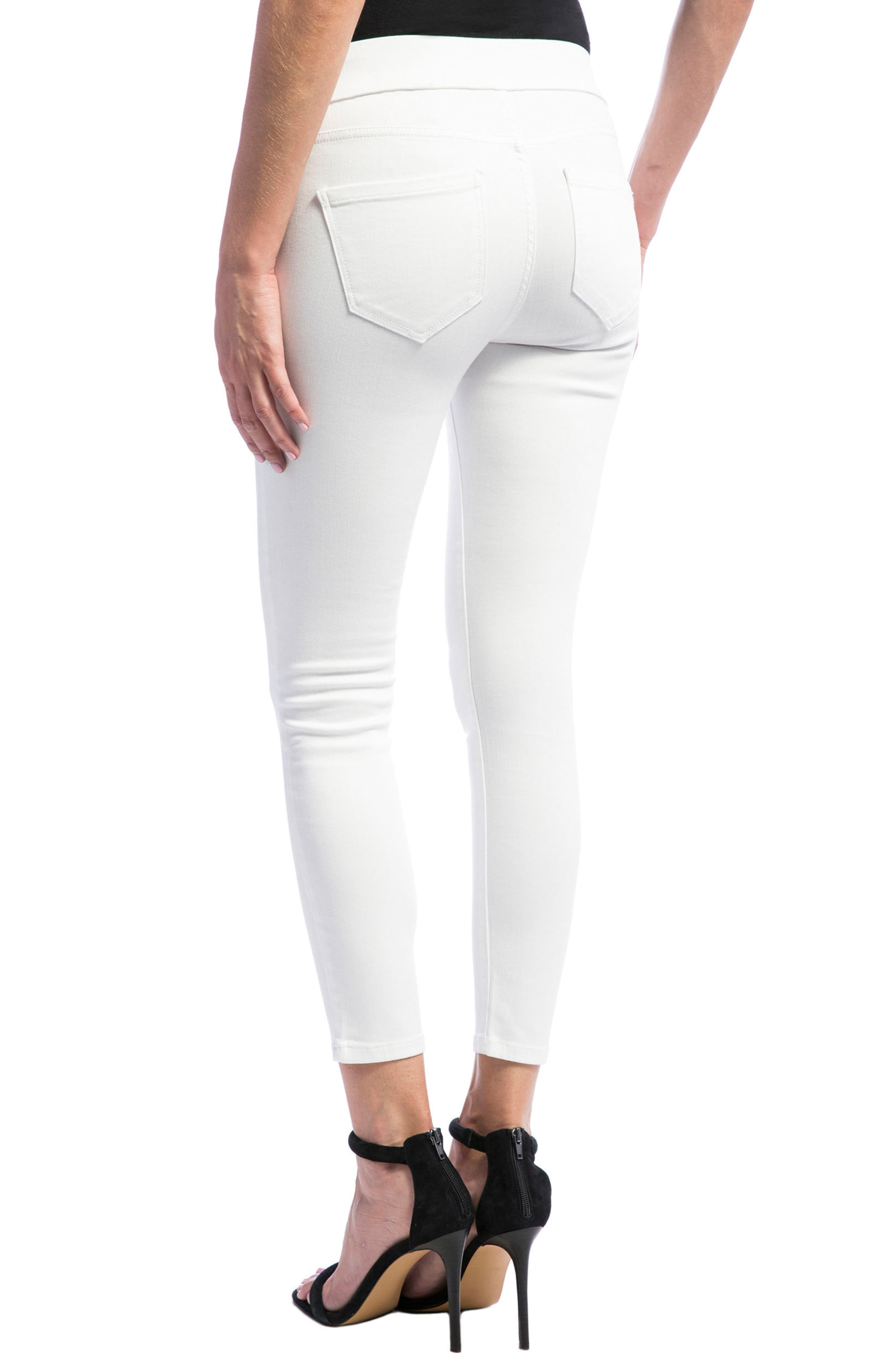 Sienna Pull-On Stretch Skinny Ankle Jeans,                             Alternate thumbnail 4, color,                             BRIGHT WHITE