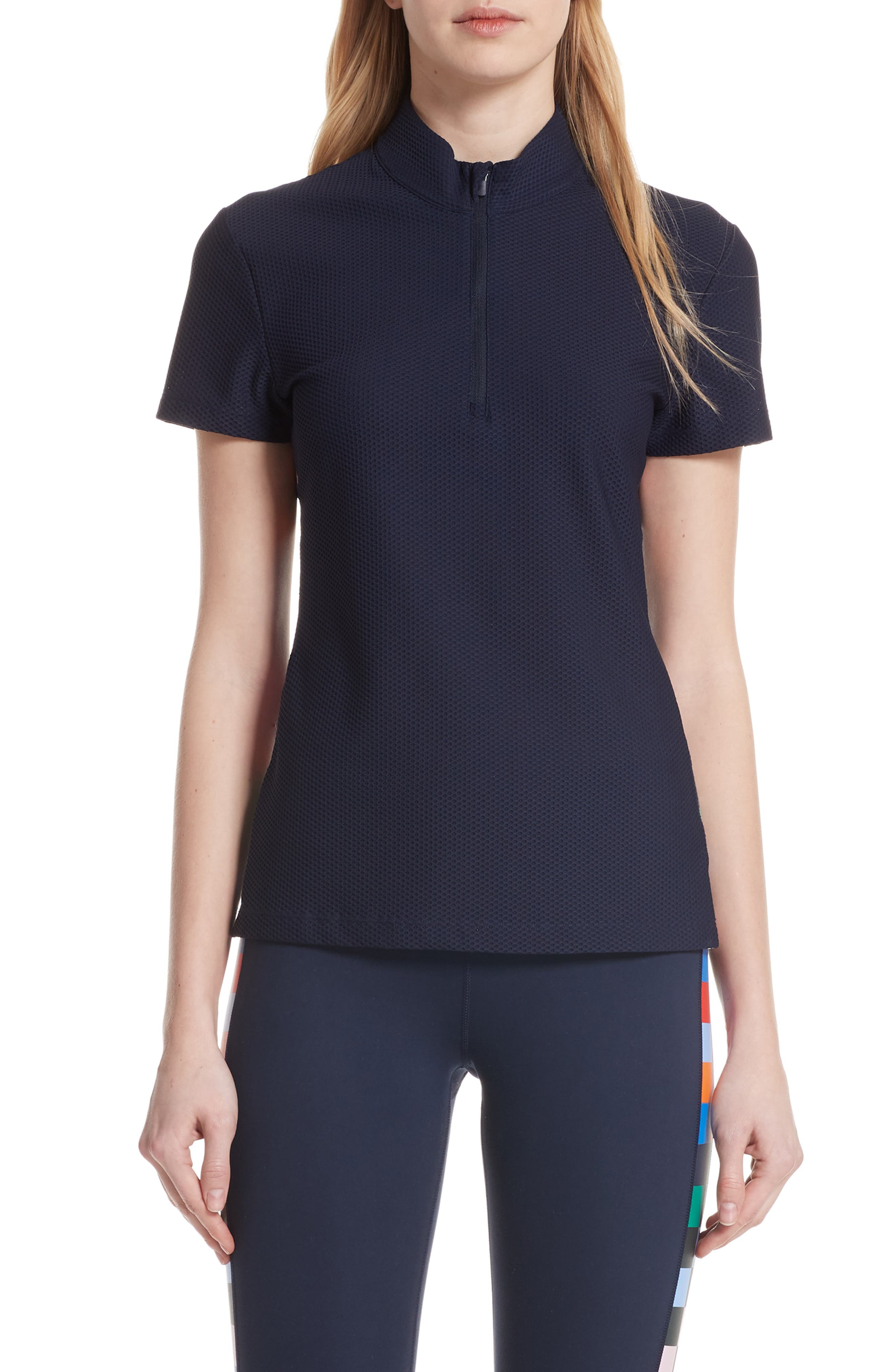 Checker Quarter Zip Mesh Top,                             Main thumbnail 1, color,                             TORY NAVY