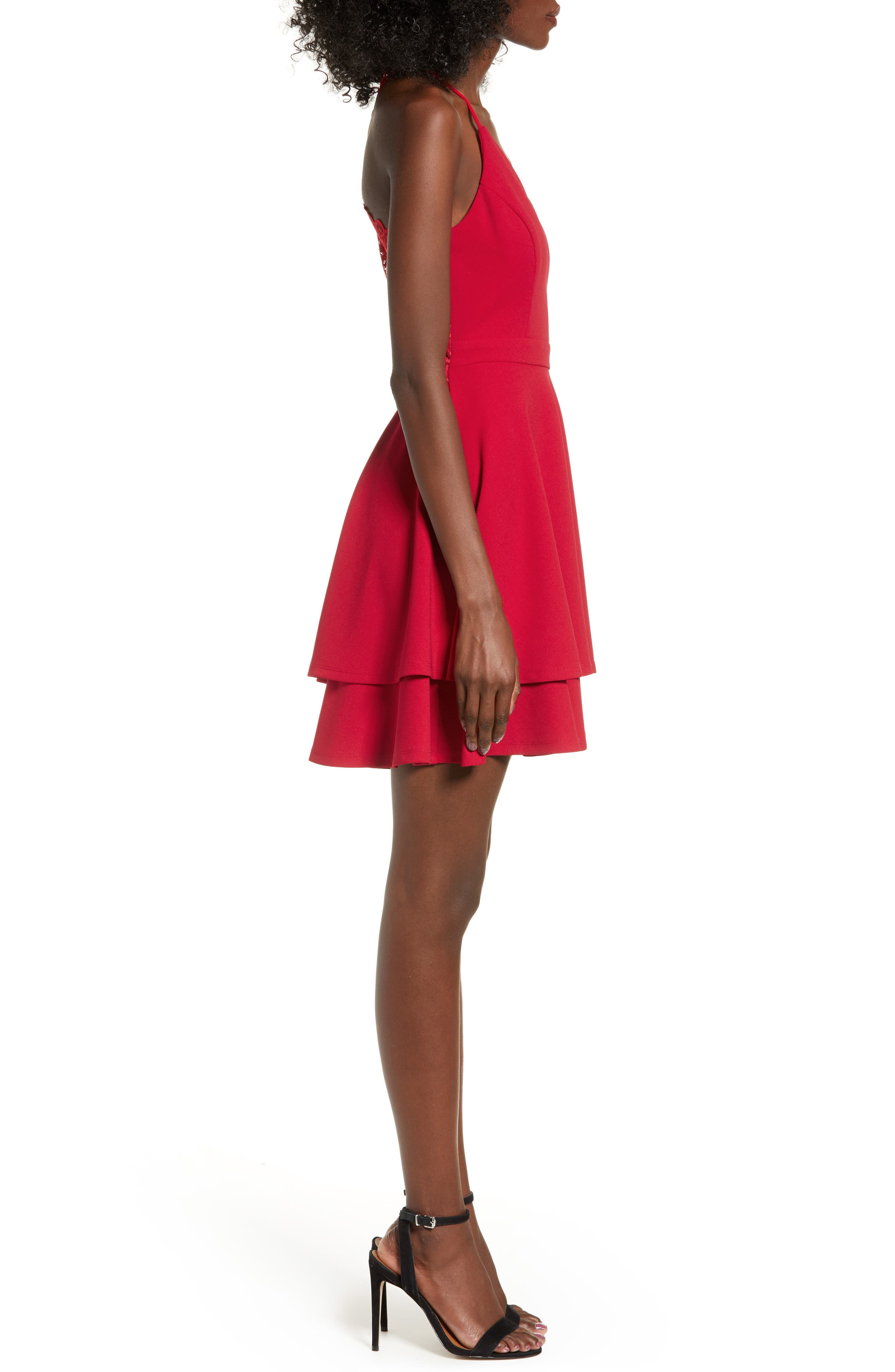 LOVE, NICKIE LEW,                             V-Neck Skater Dress,                             Alternate thumbnail 3, color,                             RED