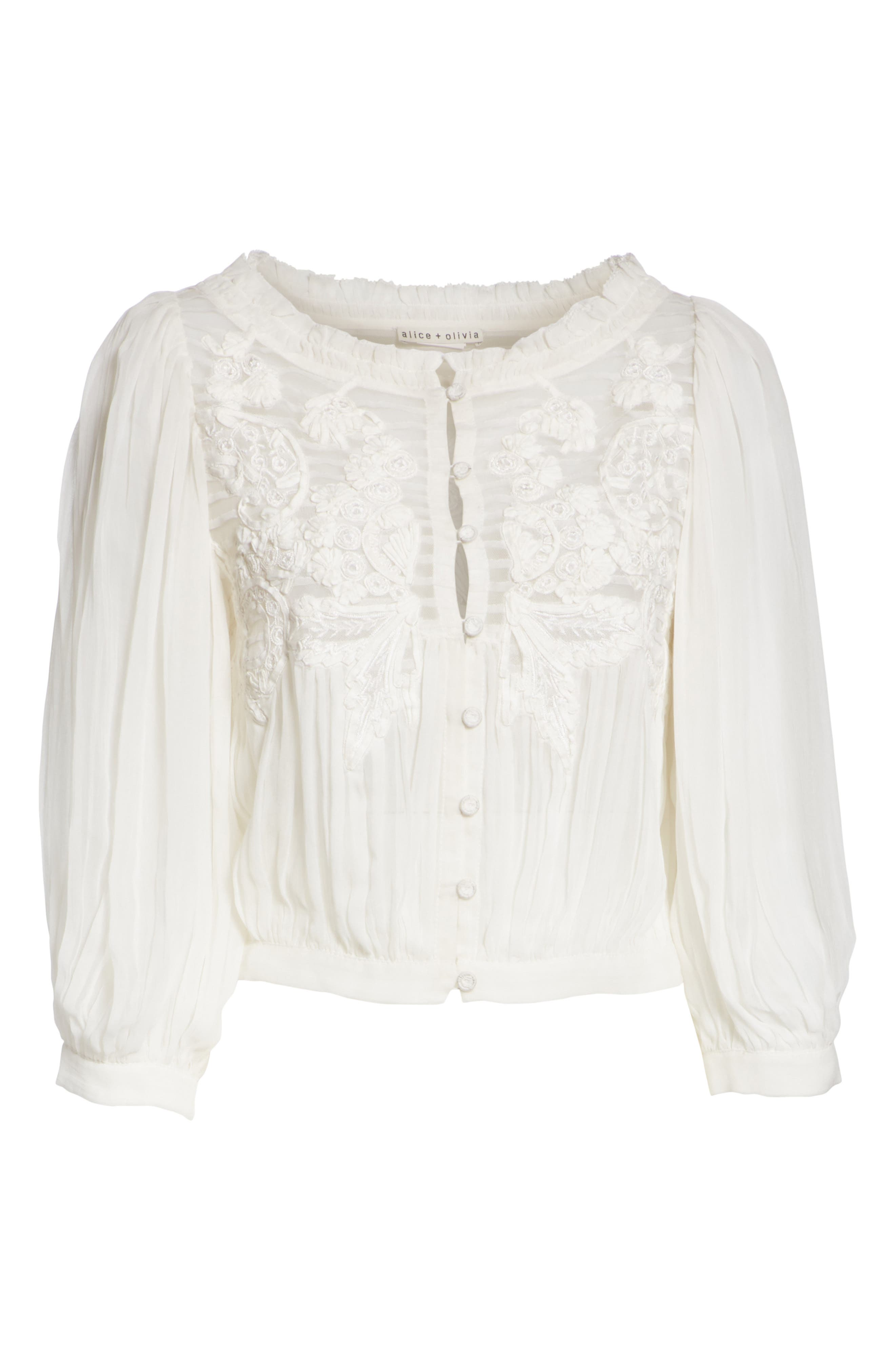 Lavone Embroidered Blouson Top,                             Alternate thumbnail 6, color,