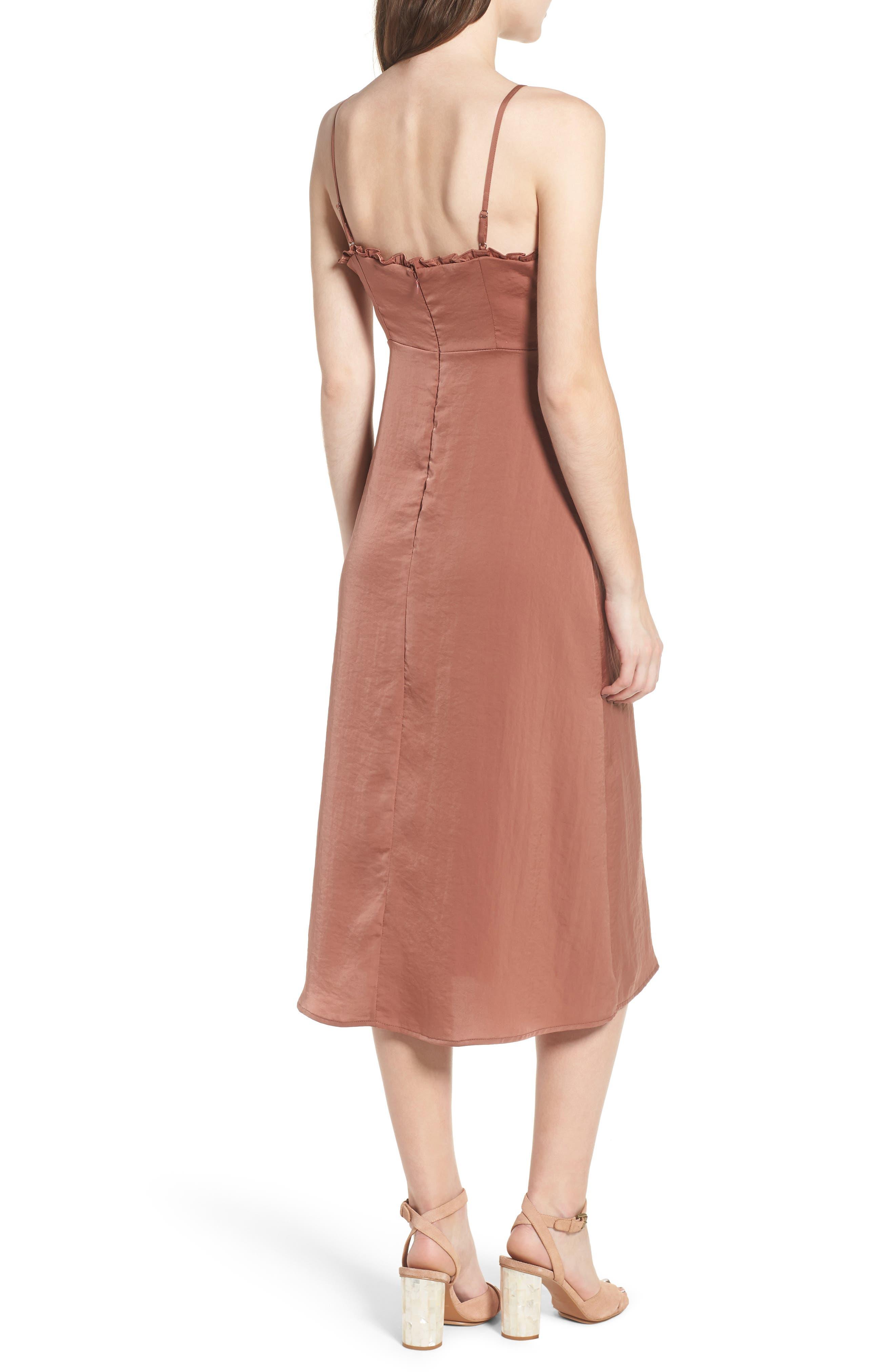 Ali Ruffle Trim Satin A-Line Midi Dress,                             Alternate thumbnail 2, color,                             250