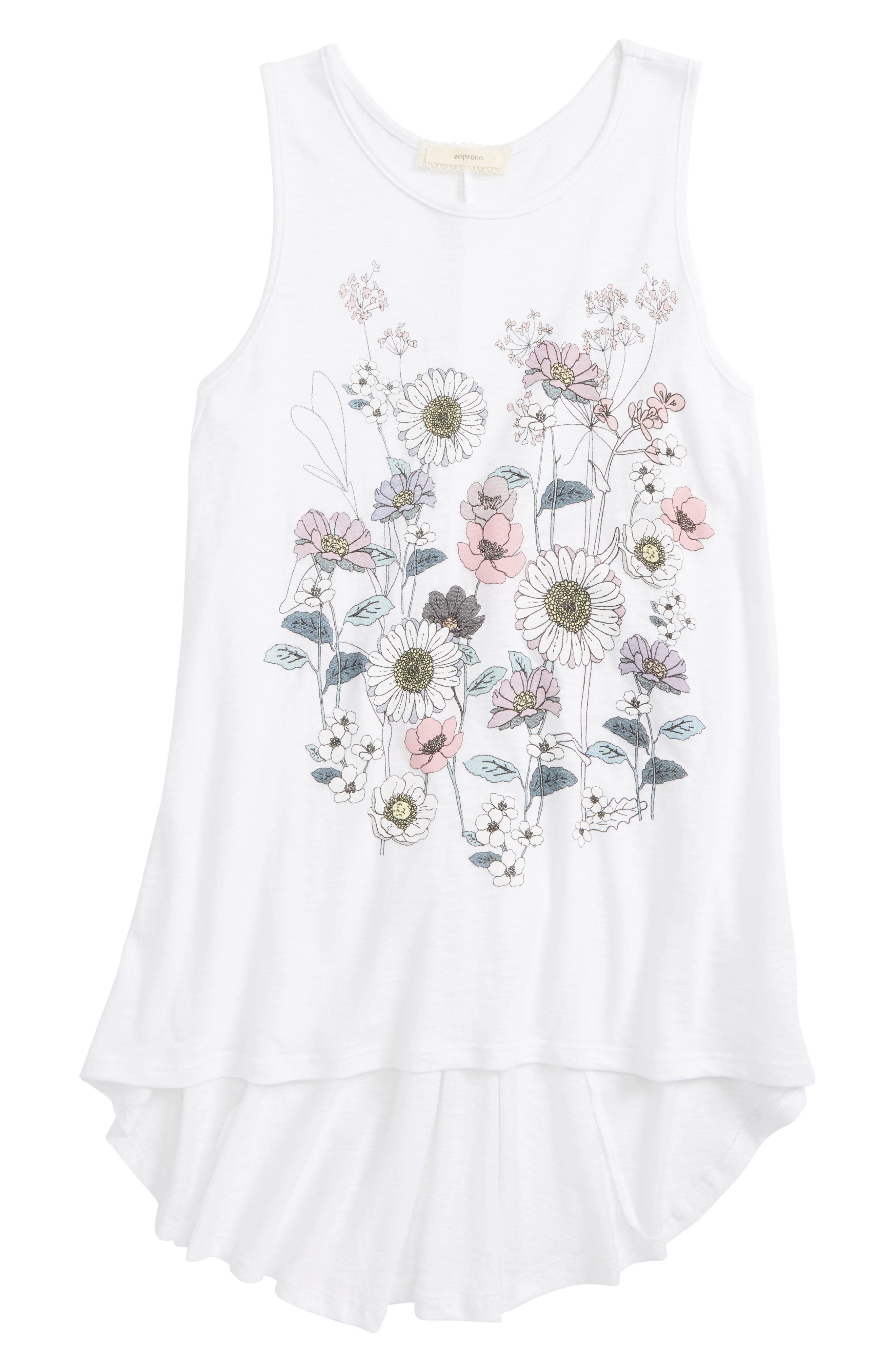 Floral High/Low Tank,                         Main,                         color, 100