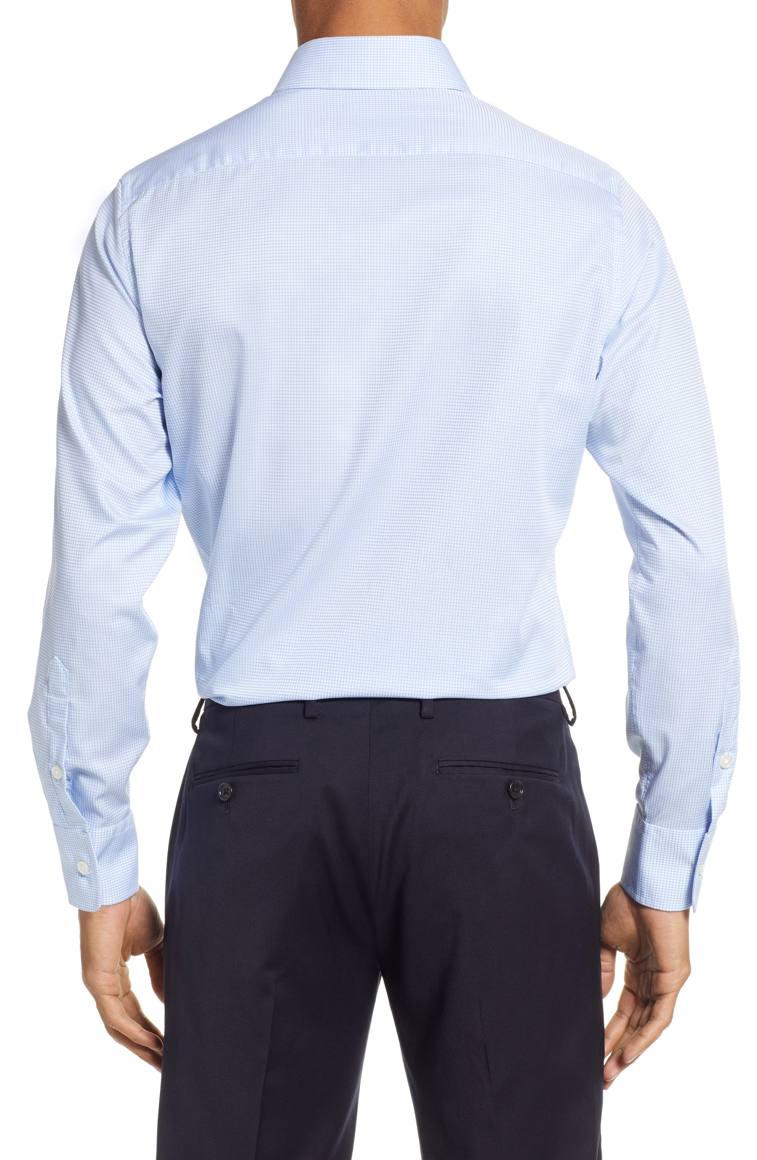 Classic Fit Check Dress Shirt,                             Alternate thumbnail 3, color,                             BLUE