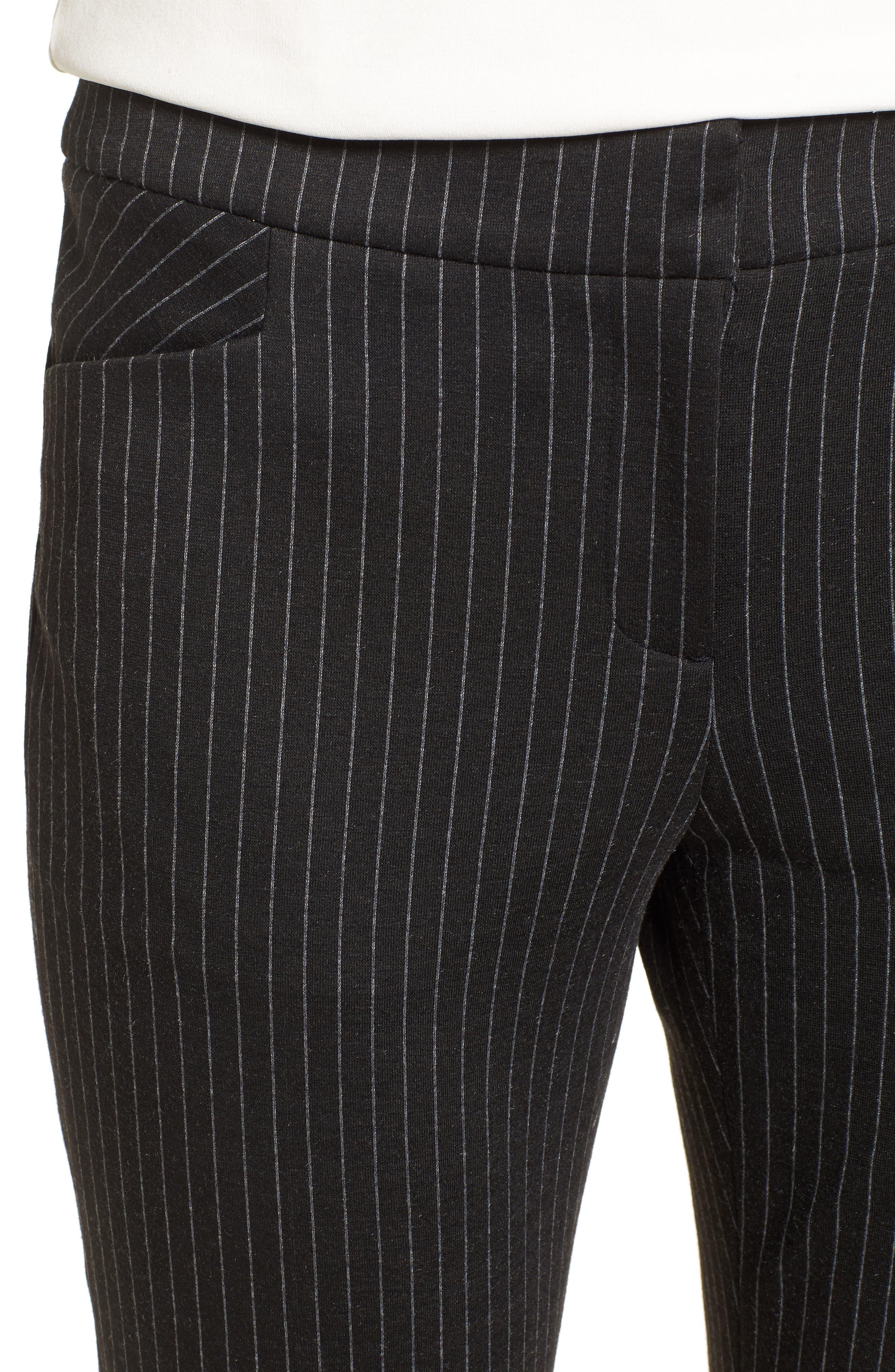 Pinstripe Ankle Pants,                             Alternate thumbnail 4, color,                             001