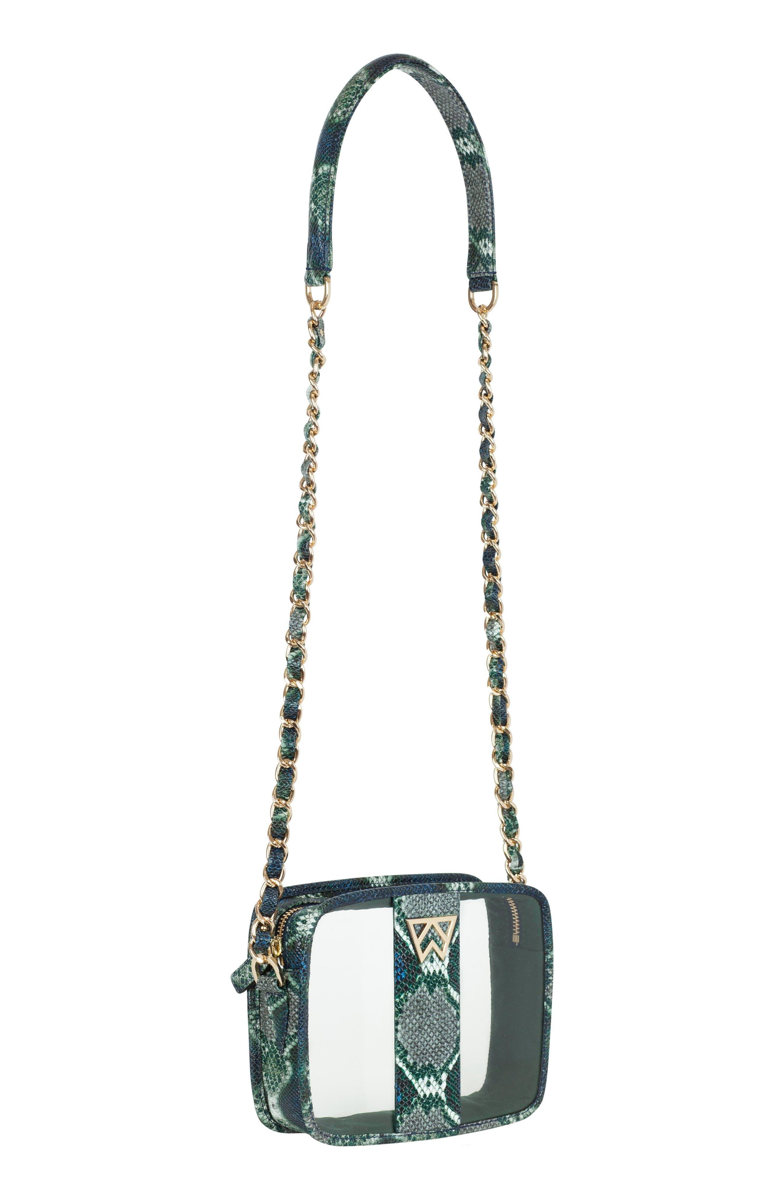 Clear Mingle Mingle Mini Crossbody Bag,                             Alternate thumbnail 3, color,                             GREEN MULTI PYTHON