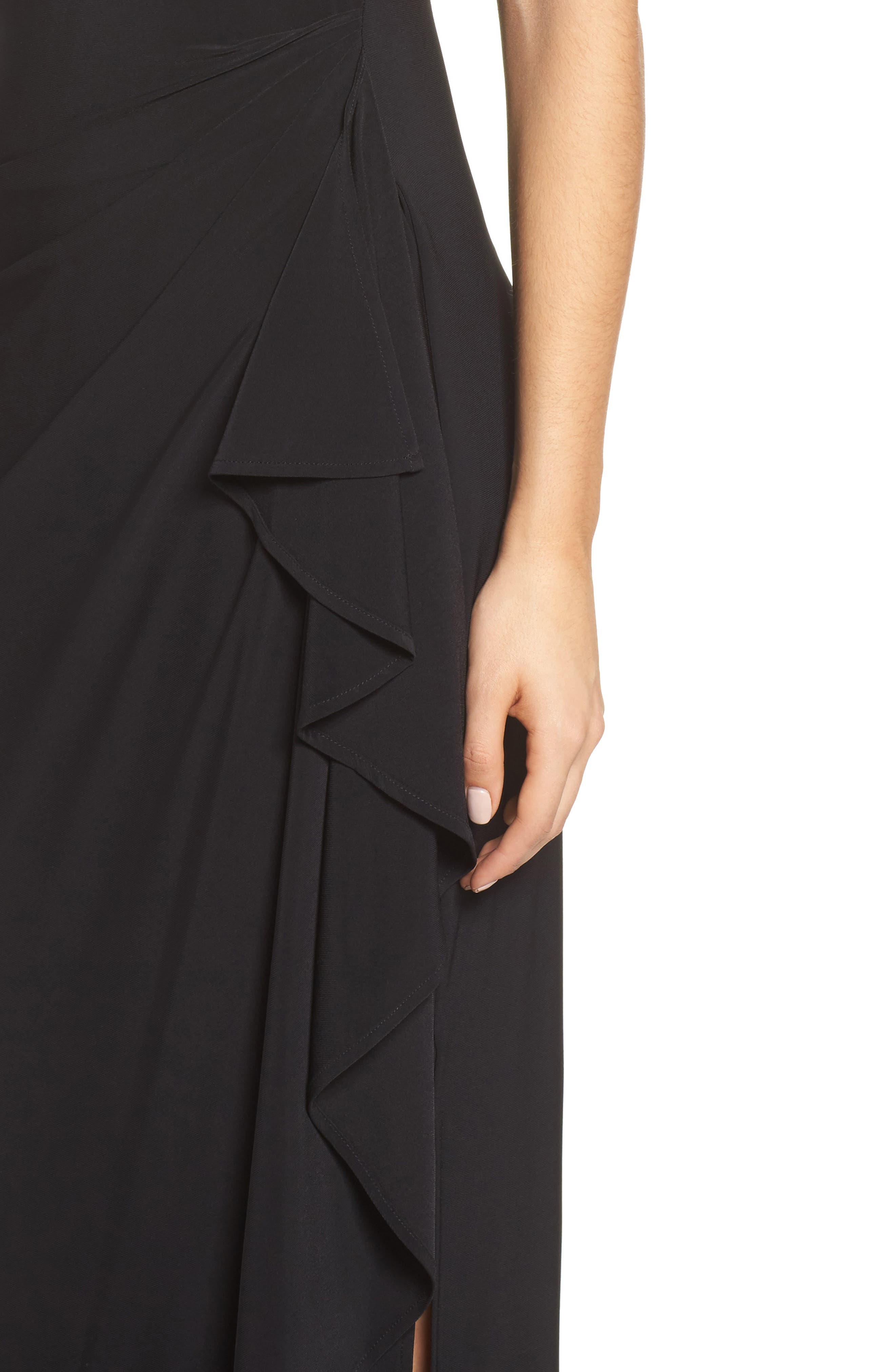 Embroidered Side Ruched Gown,                             Alternate thumbnail 4, color,                             003