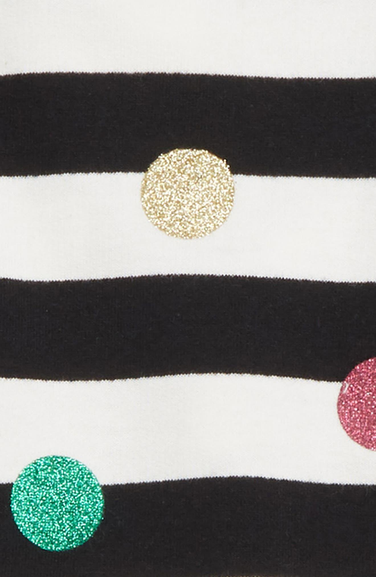 glitter dot sweatshirt & leggings set,                             Alternate thumbnail 2, color,                             FRENCH CREAM/ BLACK STRIPE
