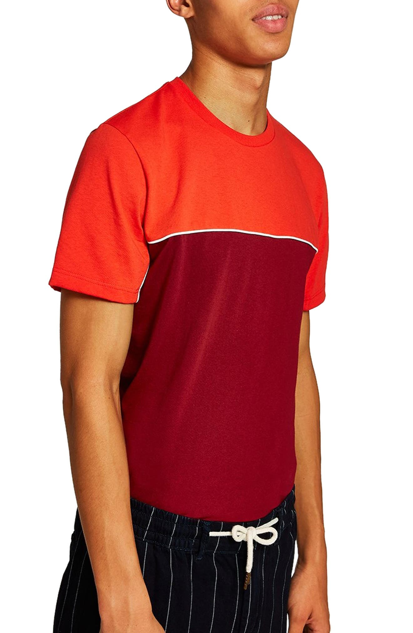 Colorblock T-Shirt,                             Alternate thumbnail 3, color,                             RED MULTI