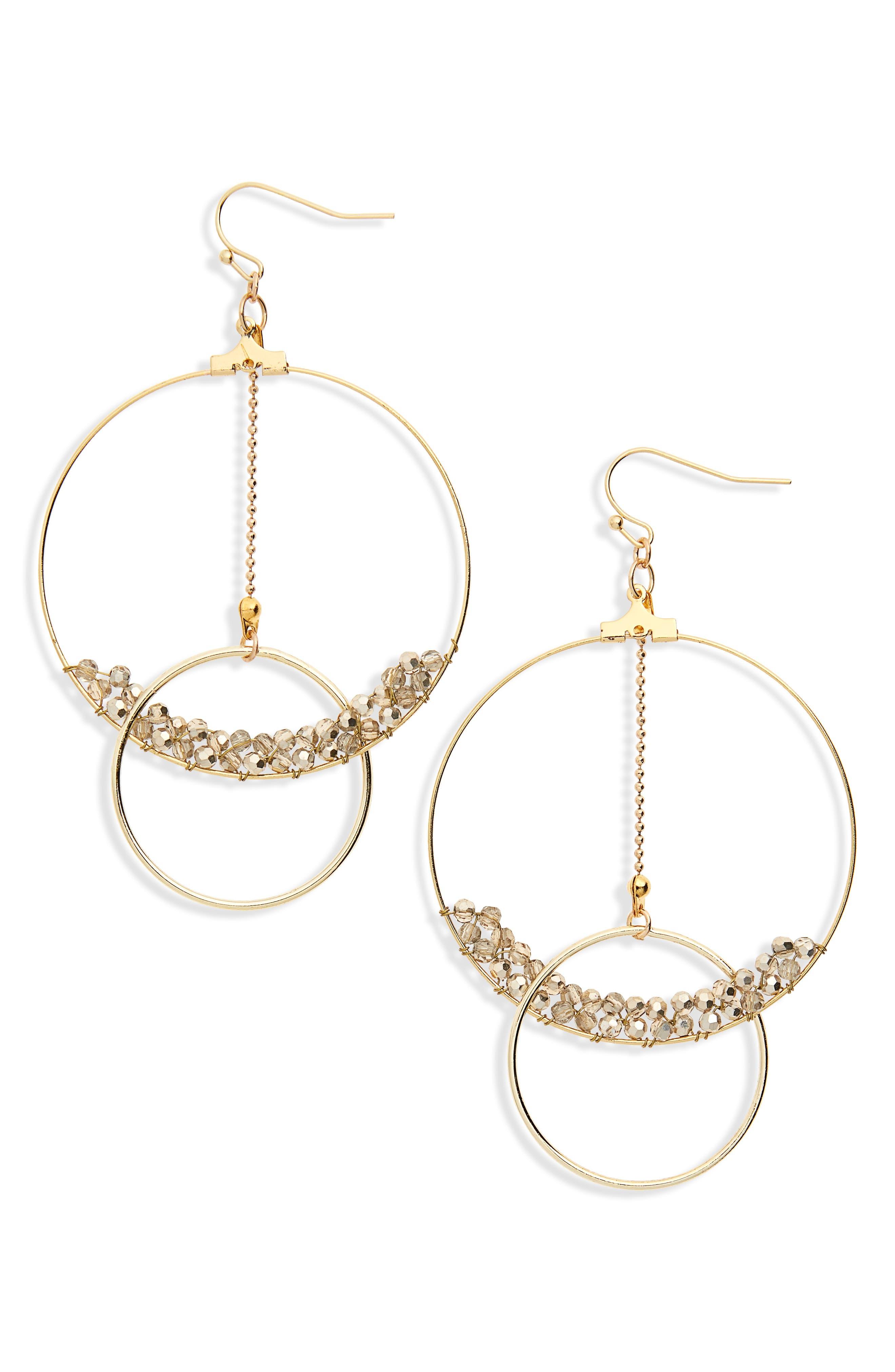 Crystal Beaded Lyrd Circle Earrings,                             Main thumbnail 1, color,                             710