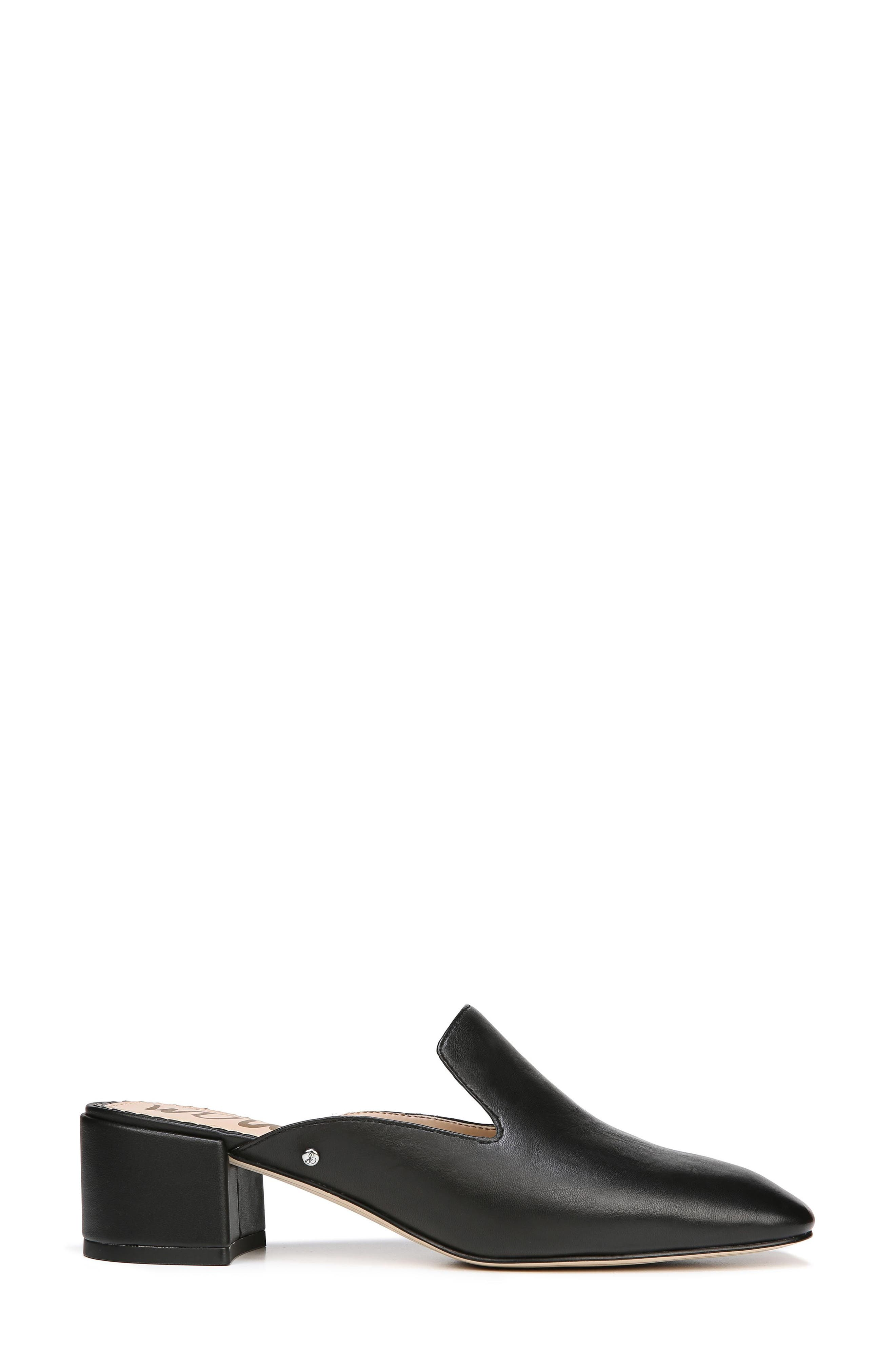 Adair Loafer Mule,                             Alternate thumbnail 3, color,                             BLACK LEATHER