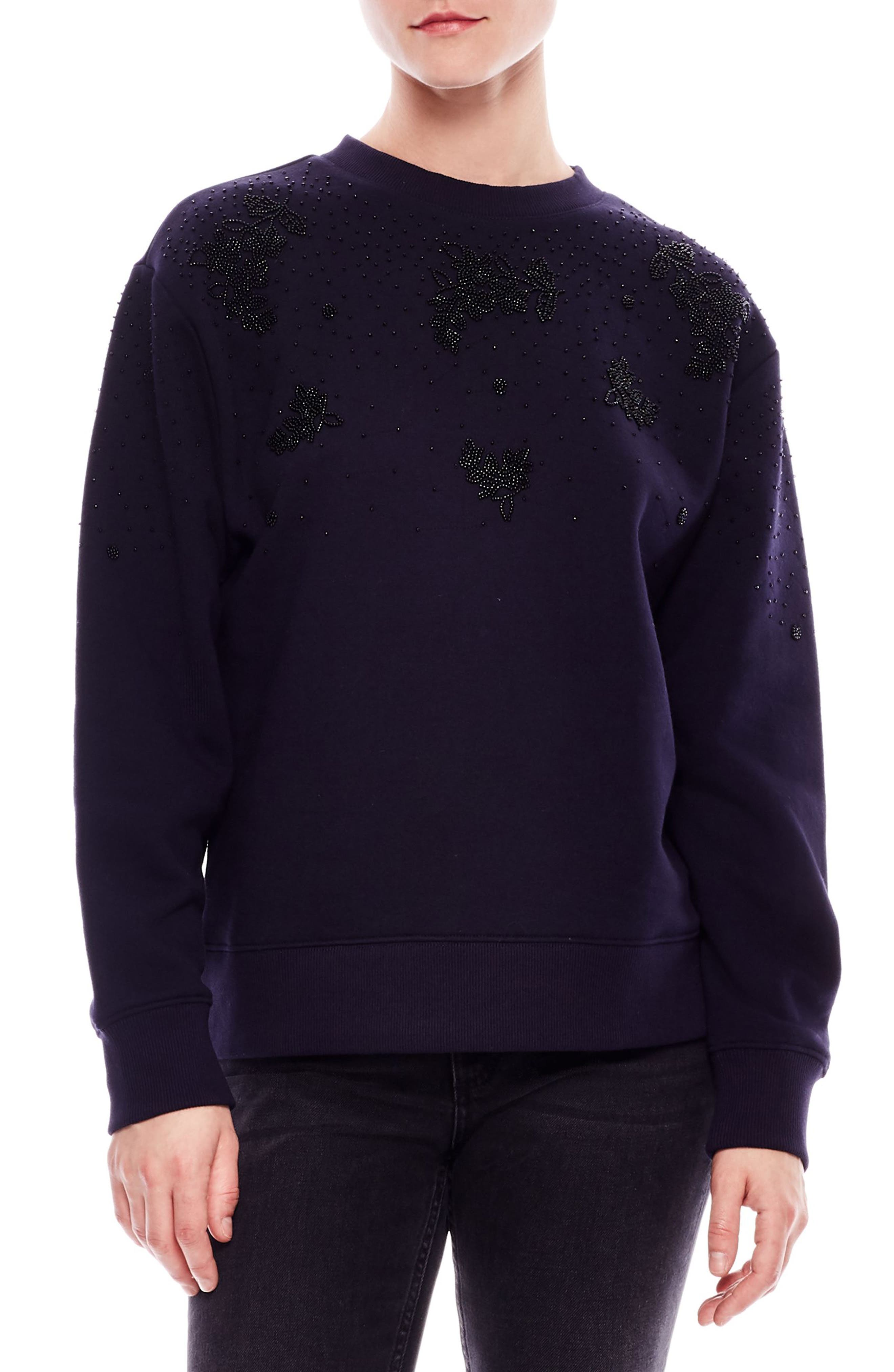 SANDRO Joux Bead-Embellished Oversized Cotton-Blend Sweatshirt in Deep Navy