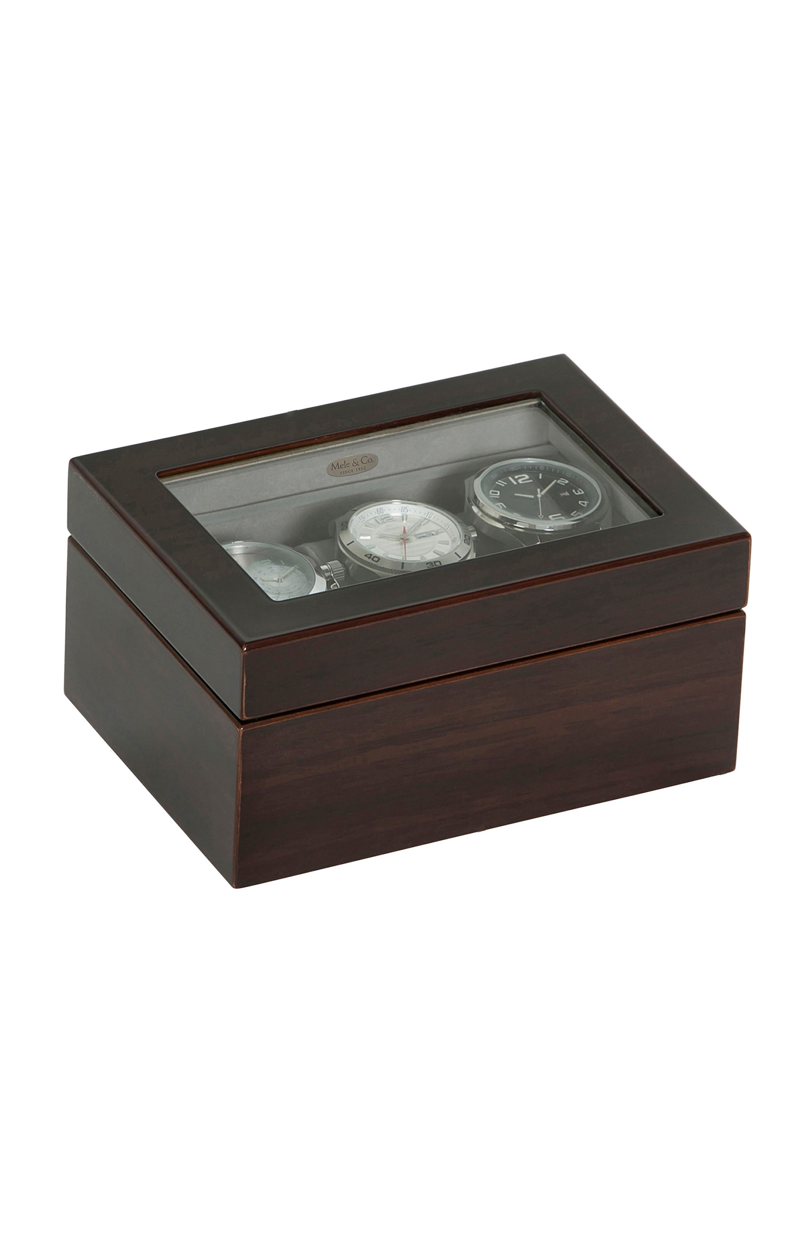 Granby Glass Top Watch Box,                             Main thumbnail 1, color,                             BROWN