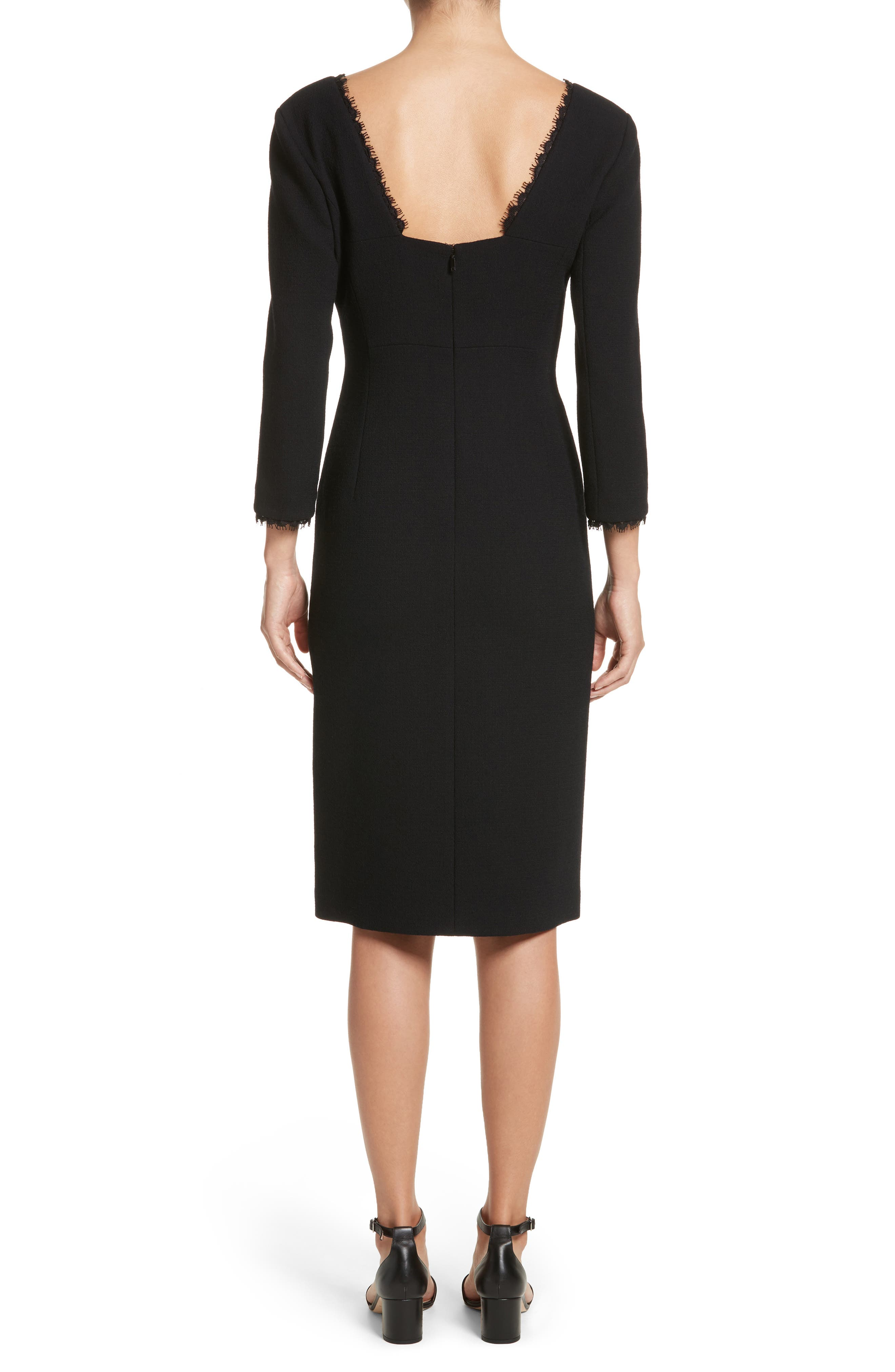 Shandy Lace Trim Wool Dress,                             Alternate thumbnail 2, color,                             001
