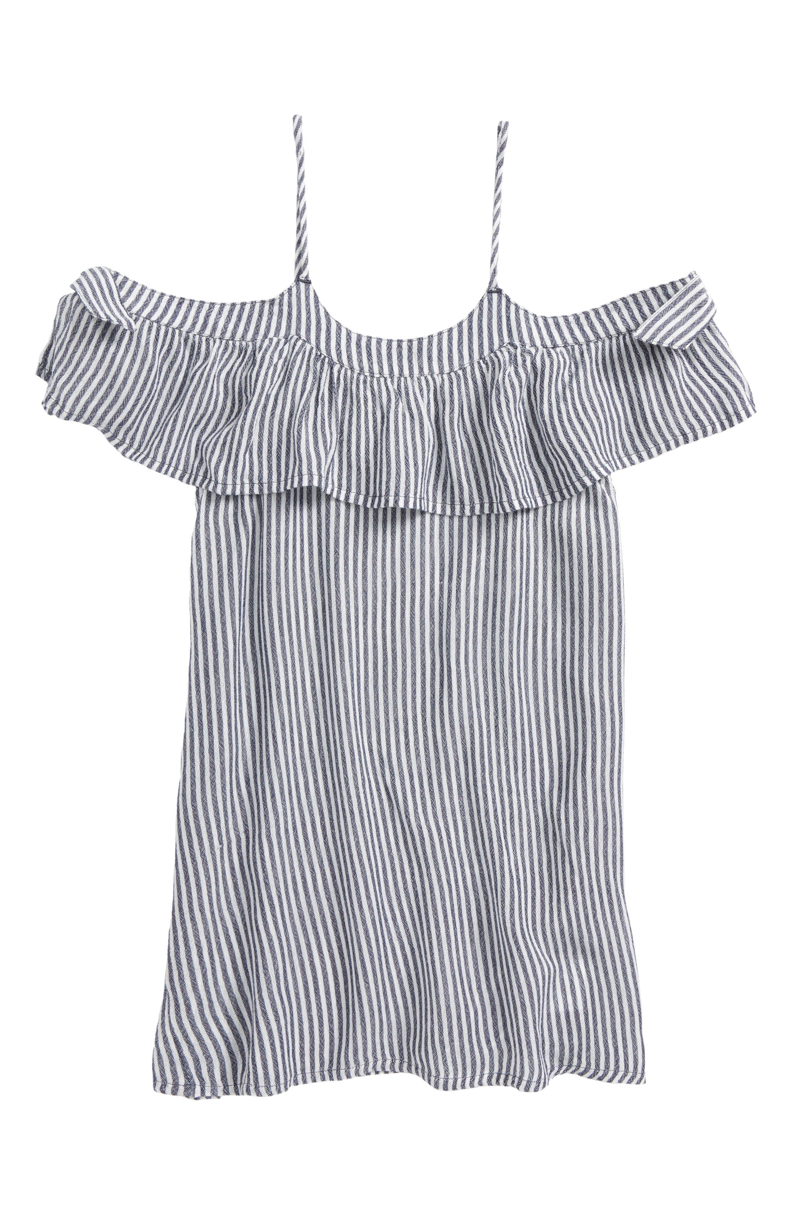 Maylee Stripe Cold-Shoulder Cover-Up Dress,                         Main,                         color, WASHED INDIGO