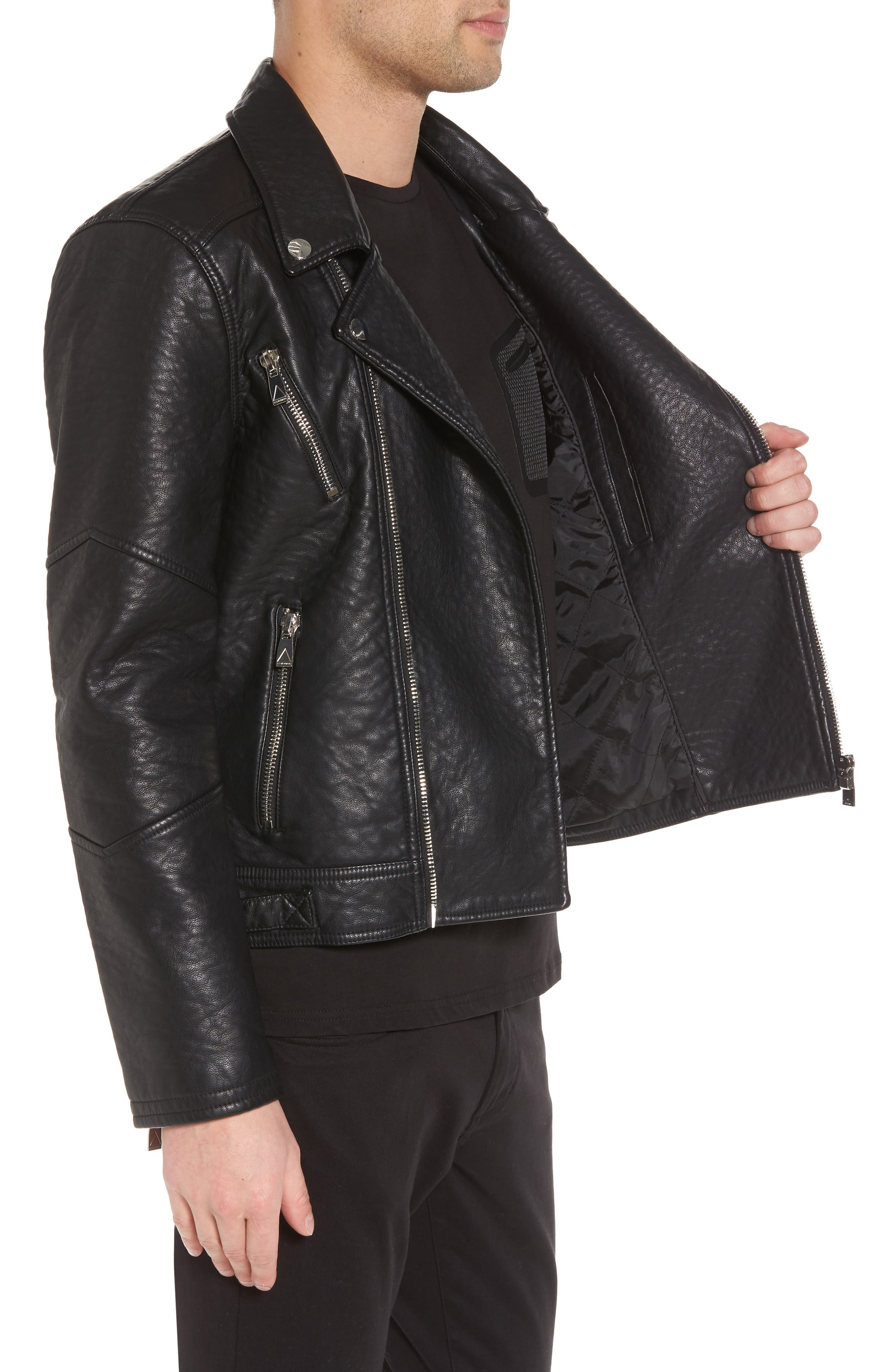 Elmut Faux Leather Biker Jacket,                             Alternate thumbnail 3, color,                             001