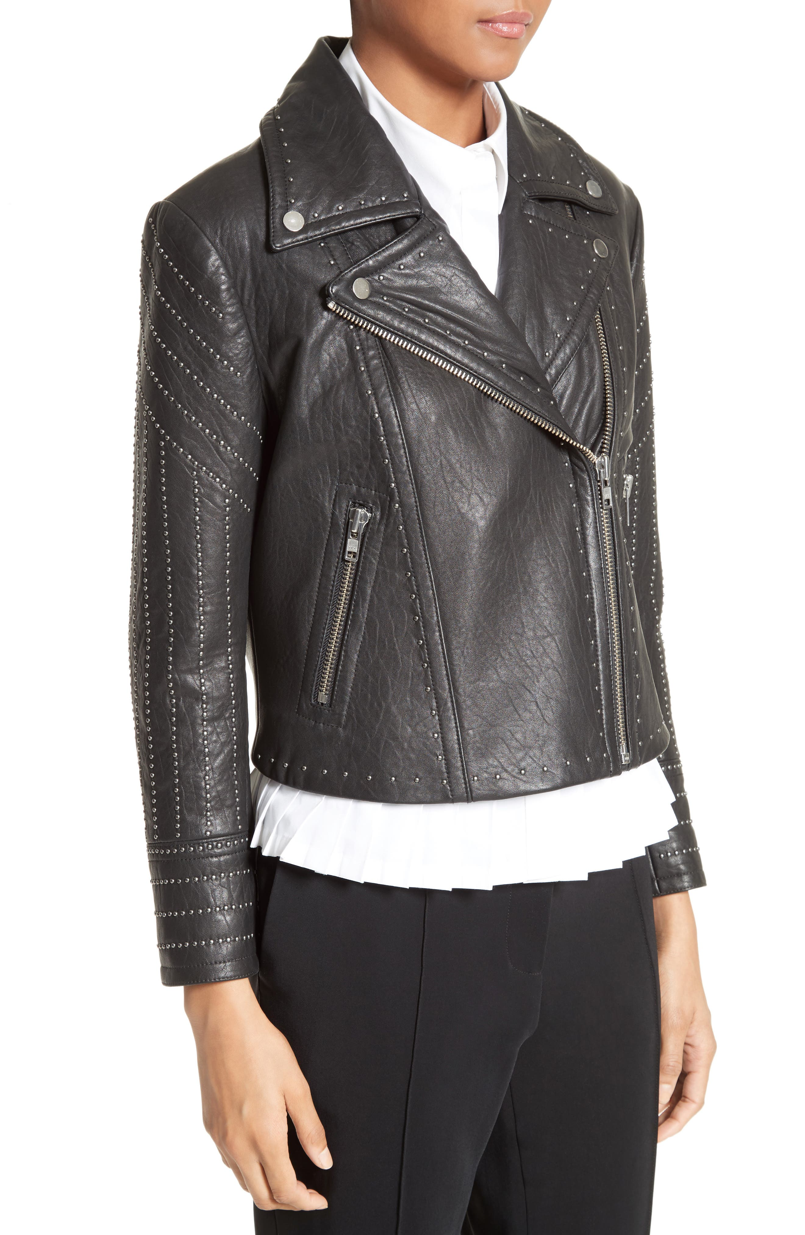 Studded Leather Jacket,                             Alternate thumbnail 4, color,                             001