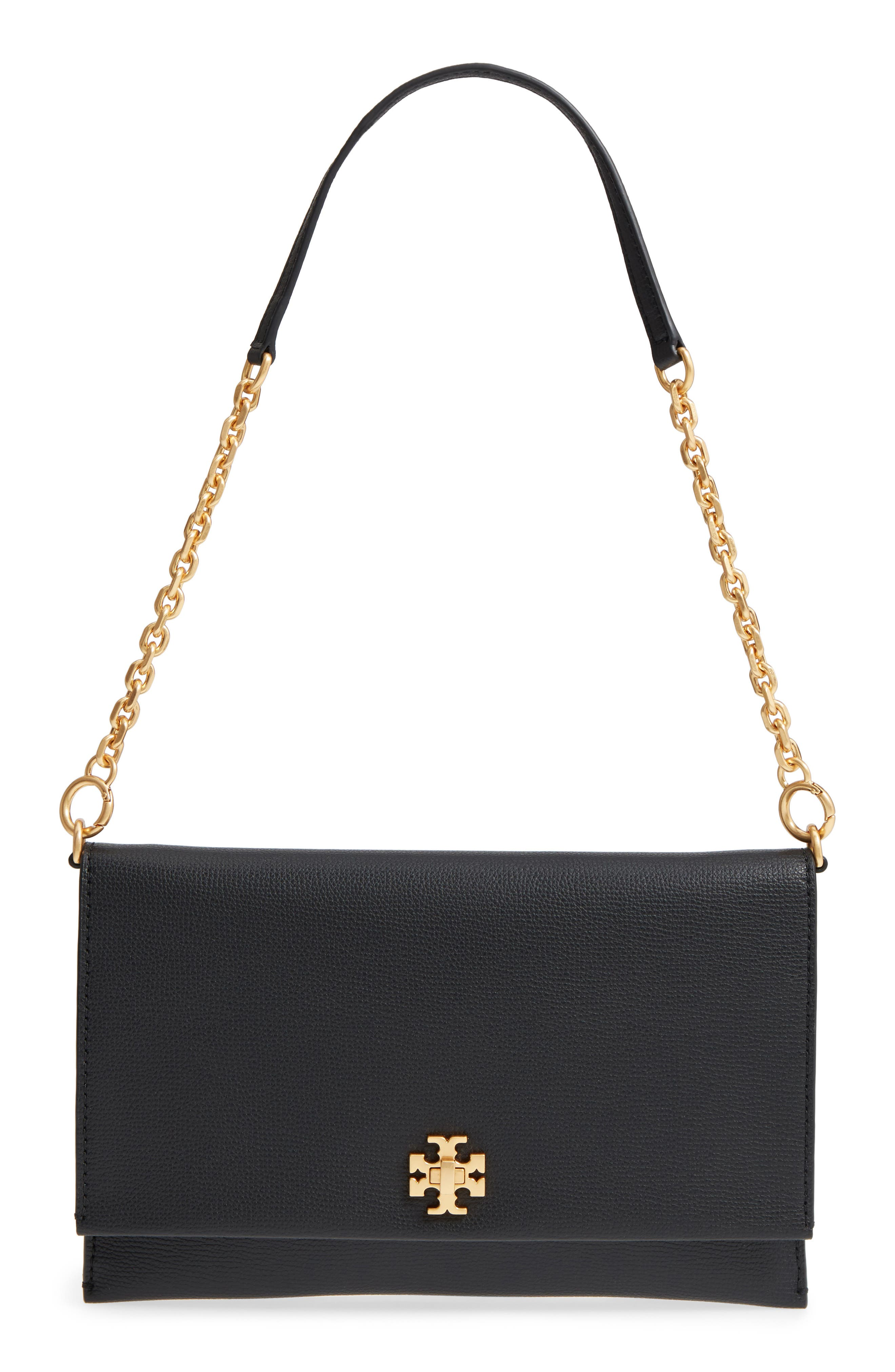 Kira Leather Clutch,                         Main,                         color, 001