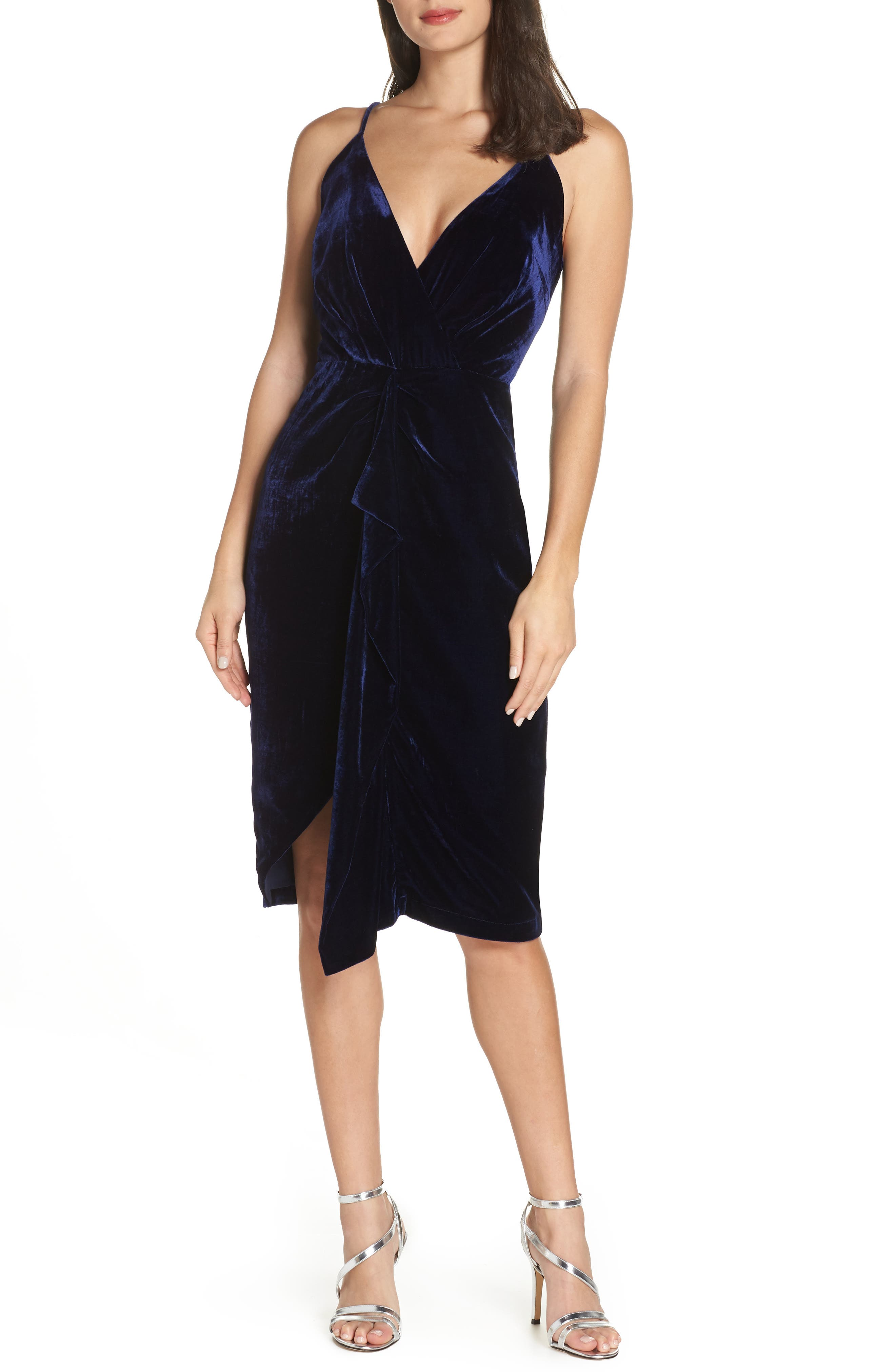 HARLYN Drape Midi Dress in Midnight Blue