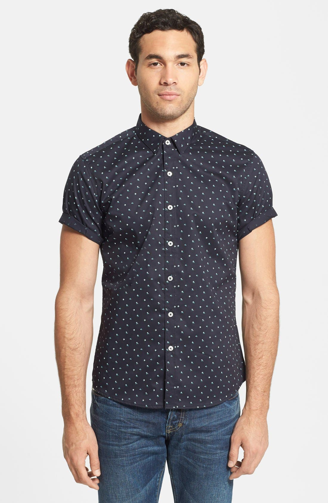 7 DIAMONDS,                             'Positive Mind' Short Sleeve Sport Shirt,                             Main thumbnail 1, color,                             410