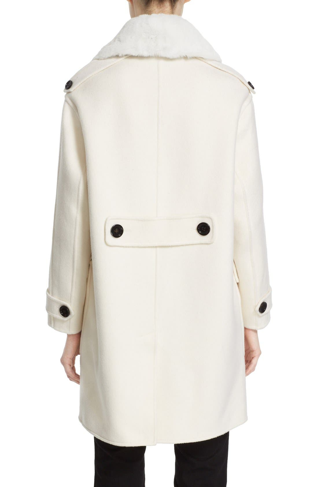 BURBERRY,                             'Highgate' Cashmere Duffle Coat with Removable Genuine Rabbit Fur Collar,                             Alternate thumbnail 5, color,                             900