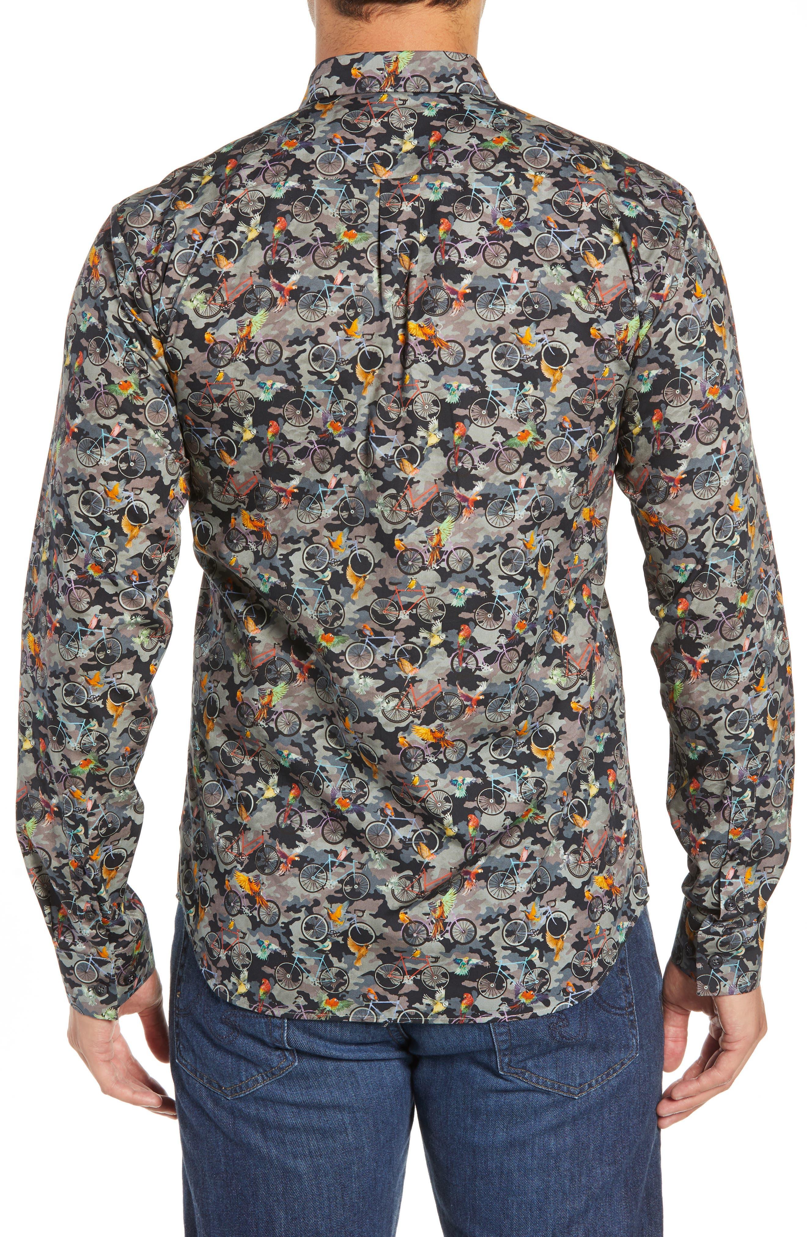 Print Long Sleeve Trim Fit Sport Shirt,                             Alternate thumbnail 3, color,                             300