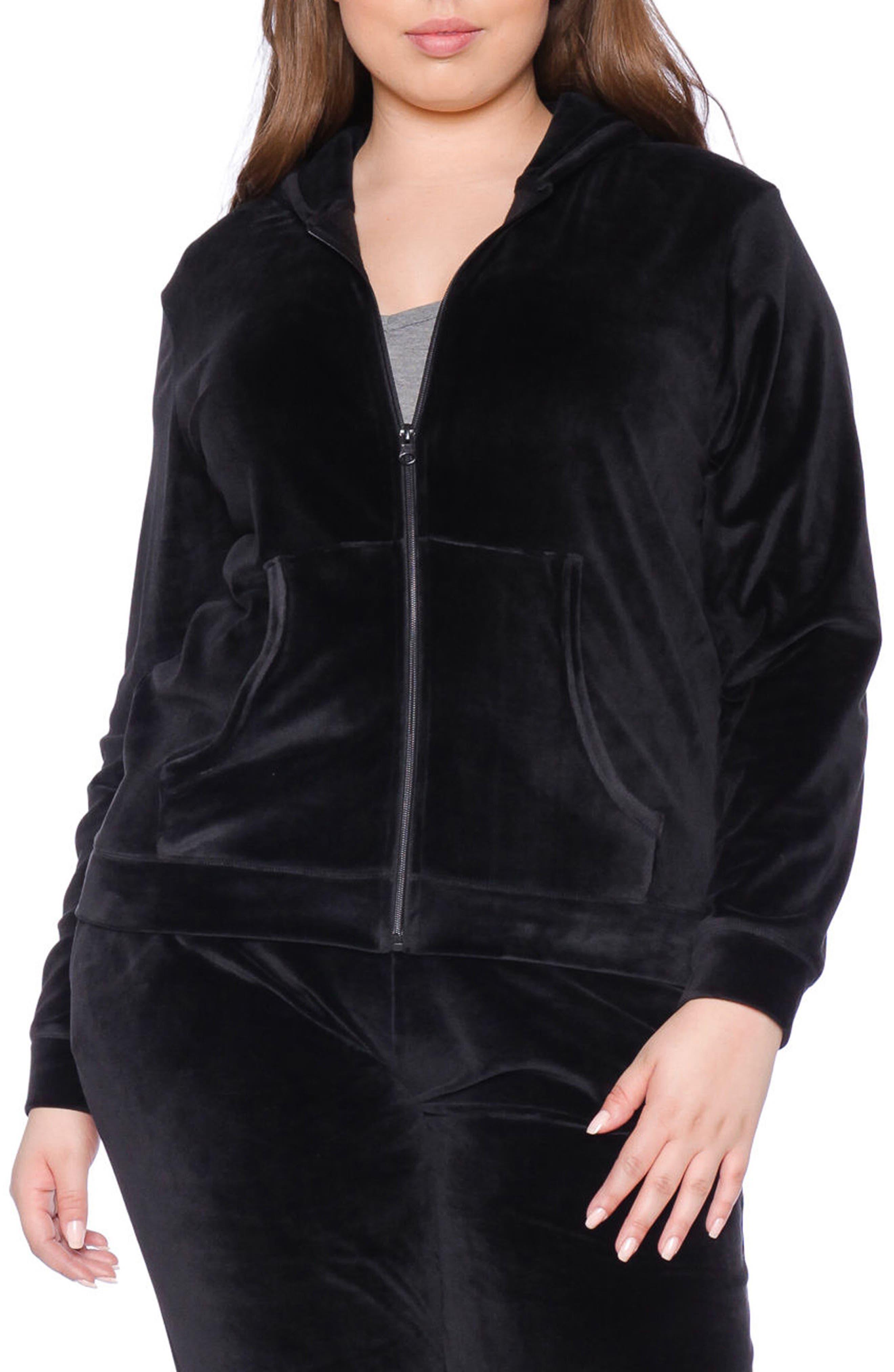 Velour Zip Hoodie,                         Main,                         color, JET BLACK