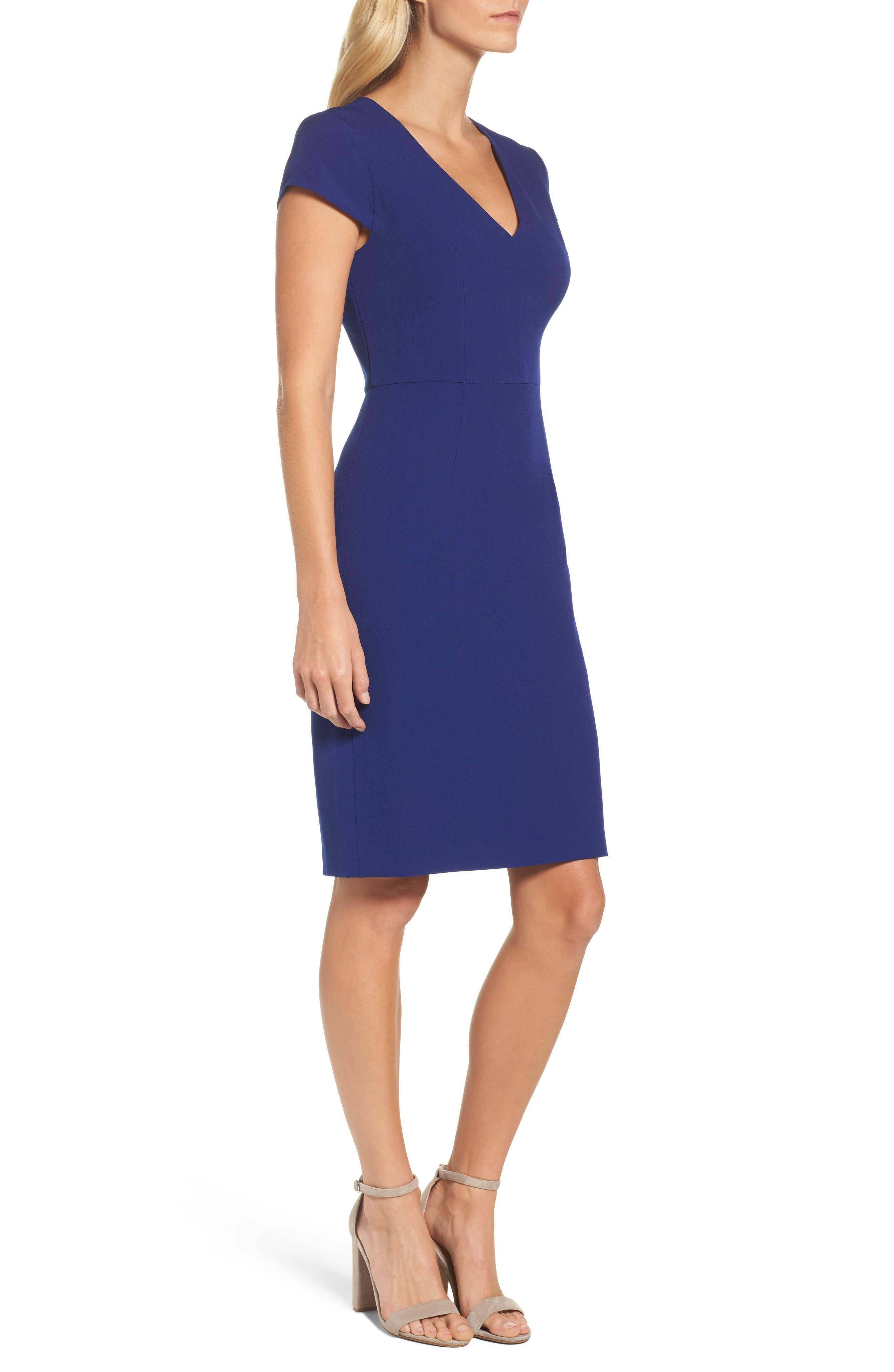 Crepe Sheath Dress,                             Alternate thumbnail 3, color,                             401